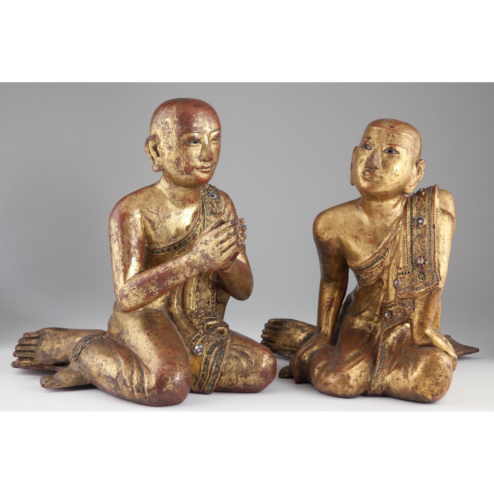 pair-of-burmese-gilt-lacquered-buddhist-monks