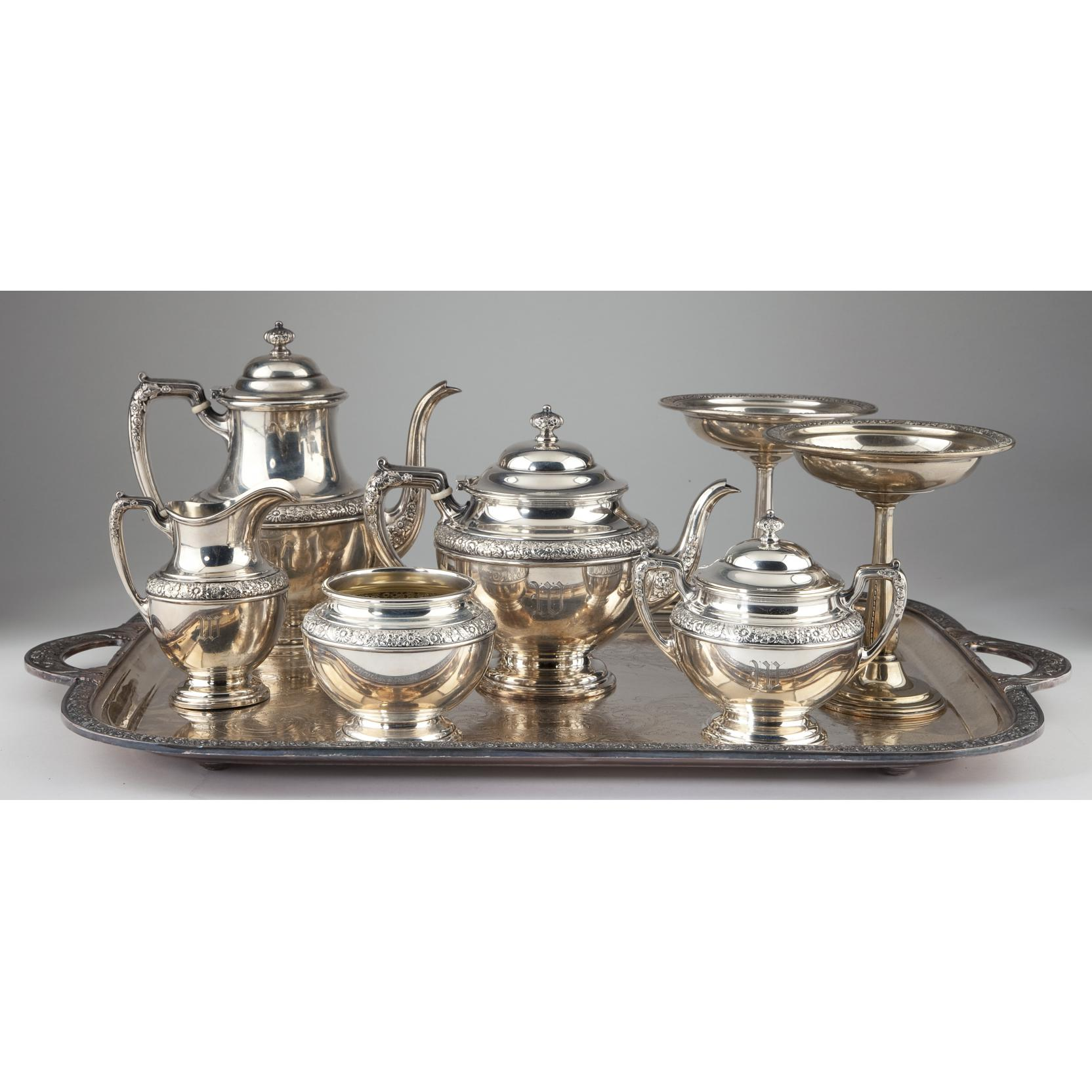 alvin-sterling-tea-set-and-pair-compotes