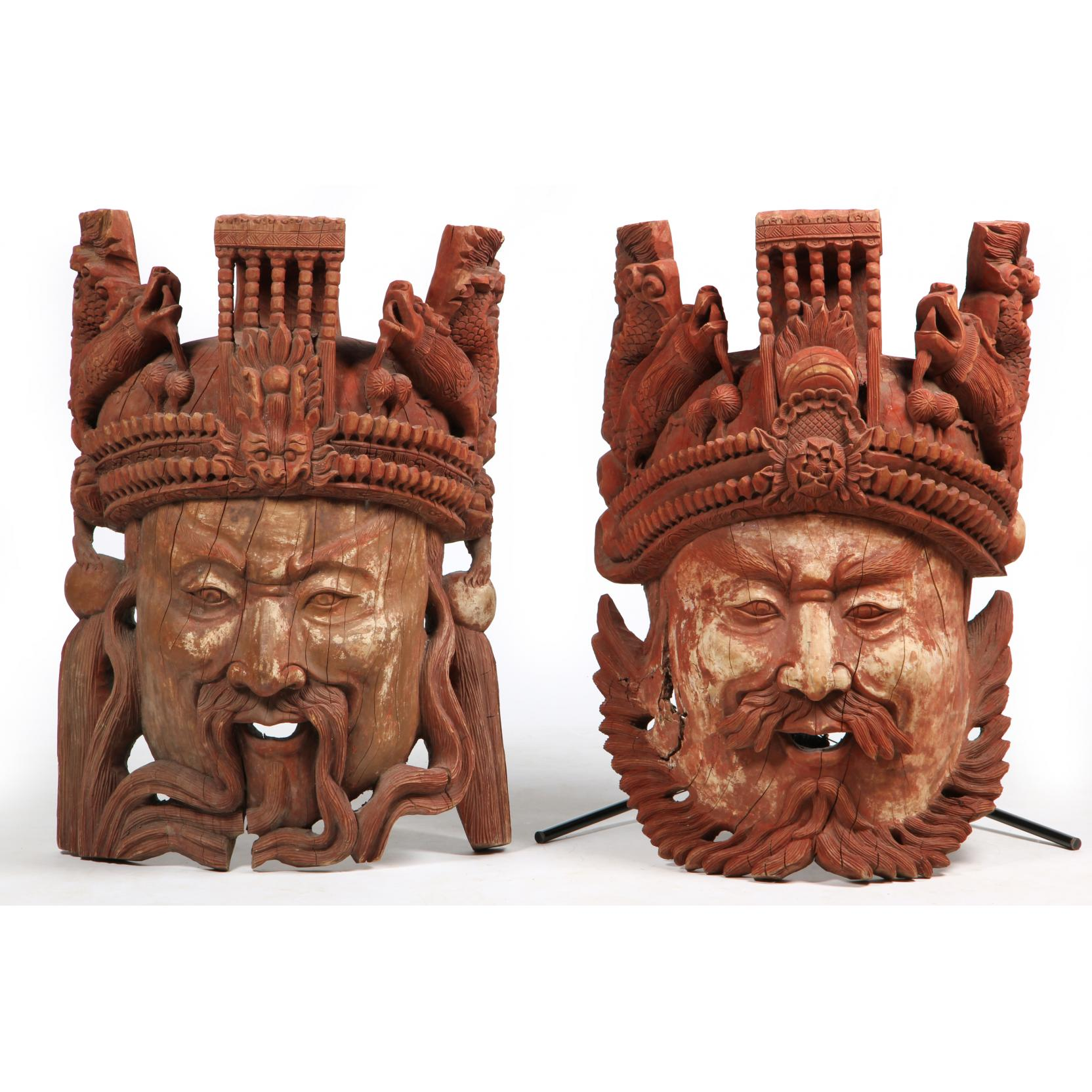 pair-of-large-chinese-architectural-masks