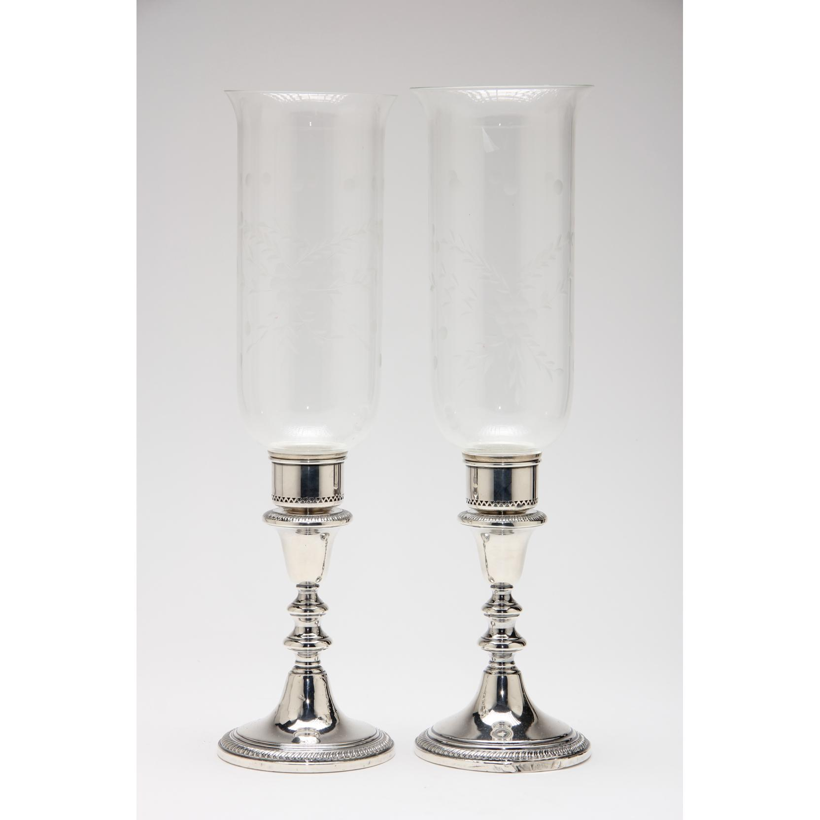 pair-of-sterling-silver-glass-hurricane-lamps