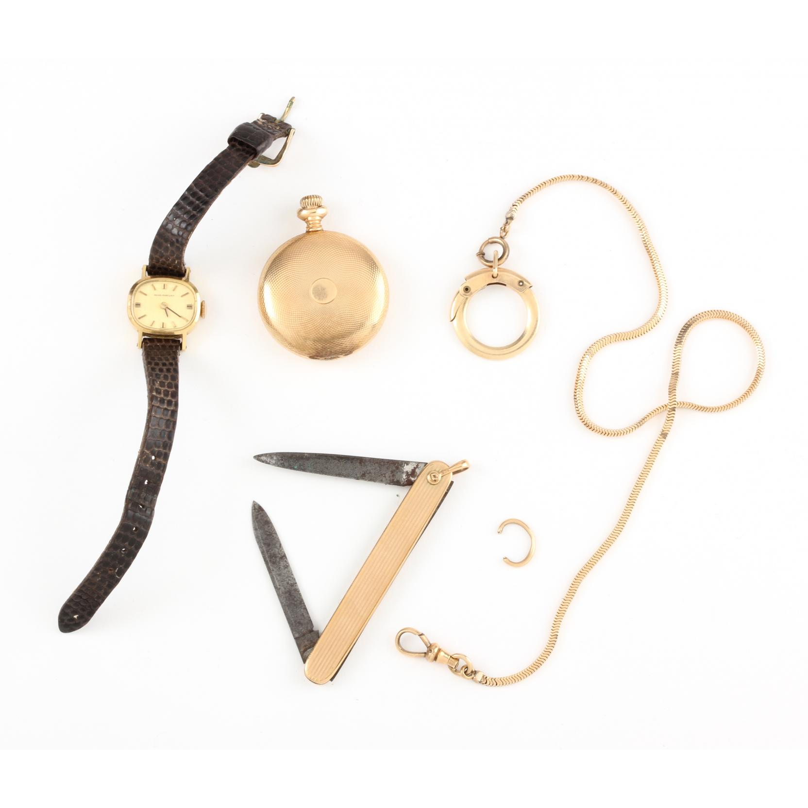 two-vintage-gold-pocket-watches-and-a-10kt-gold-pocket-knife