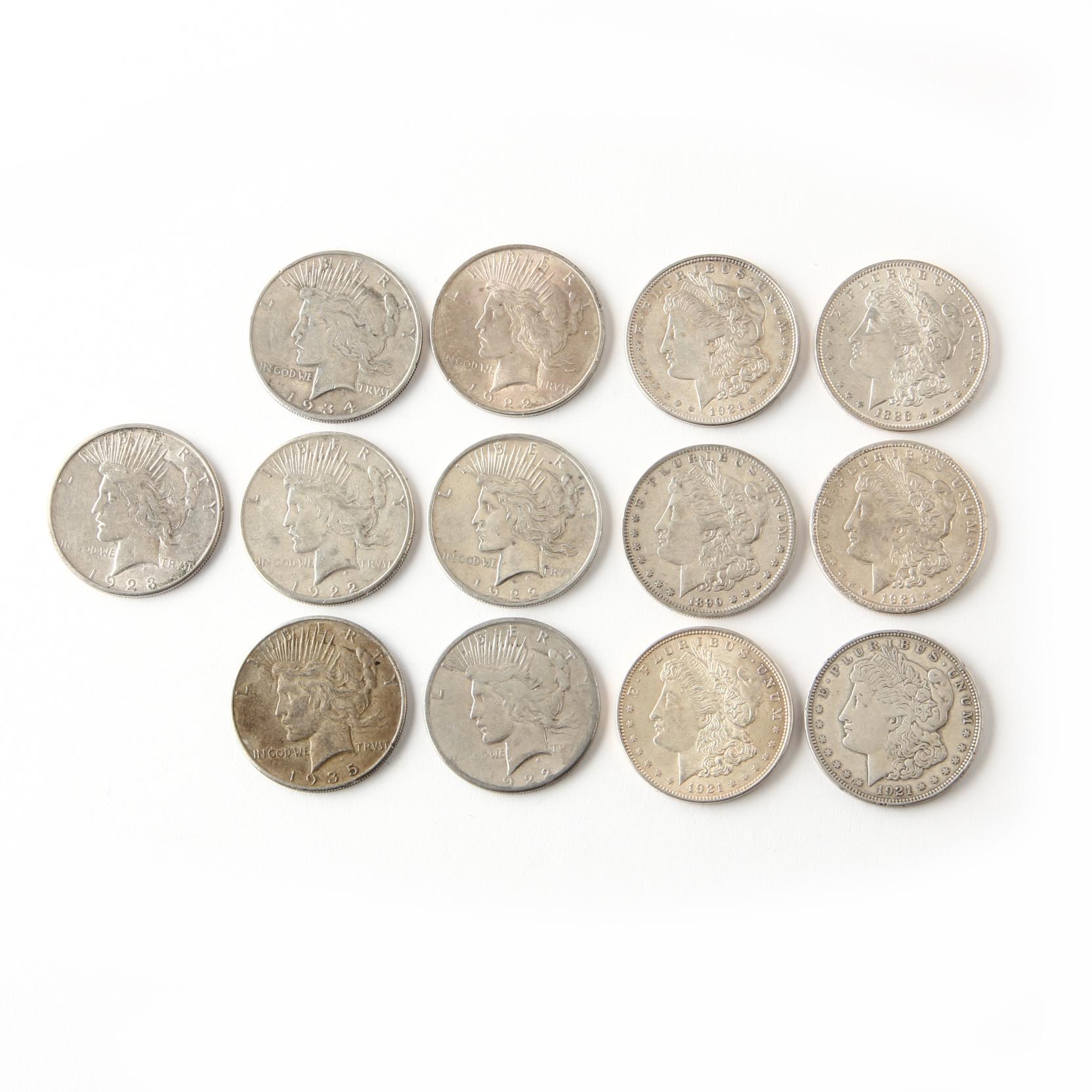 thirteen-circulated-classic-silver-dollars