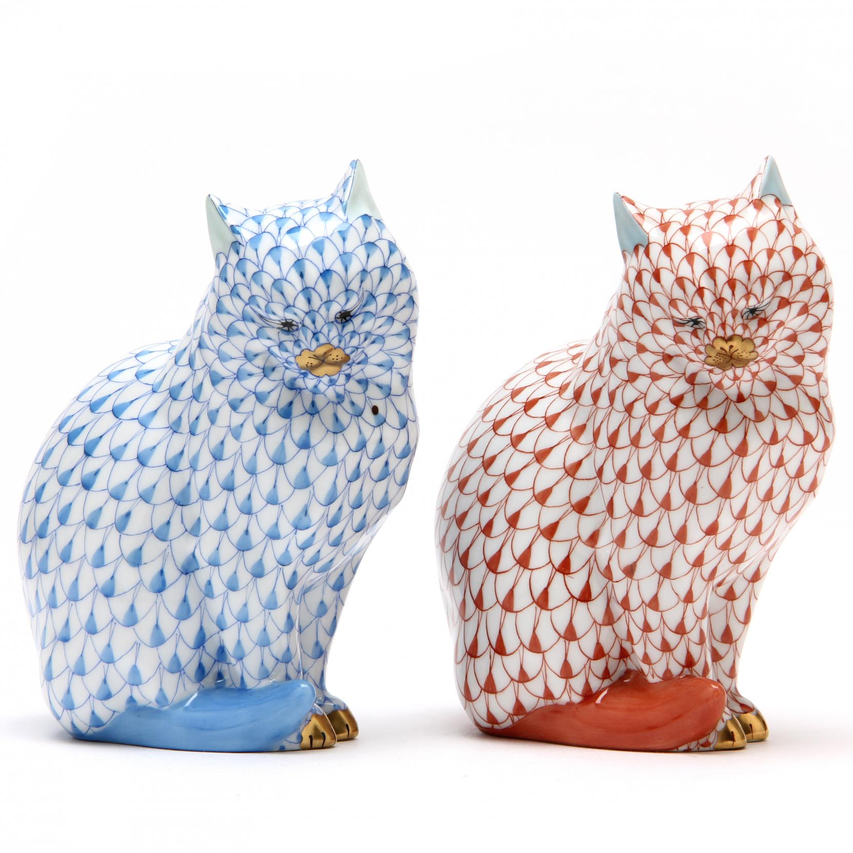a-pair-of-herend-porcelain-seated-cats