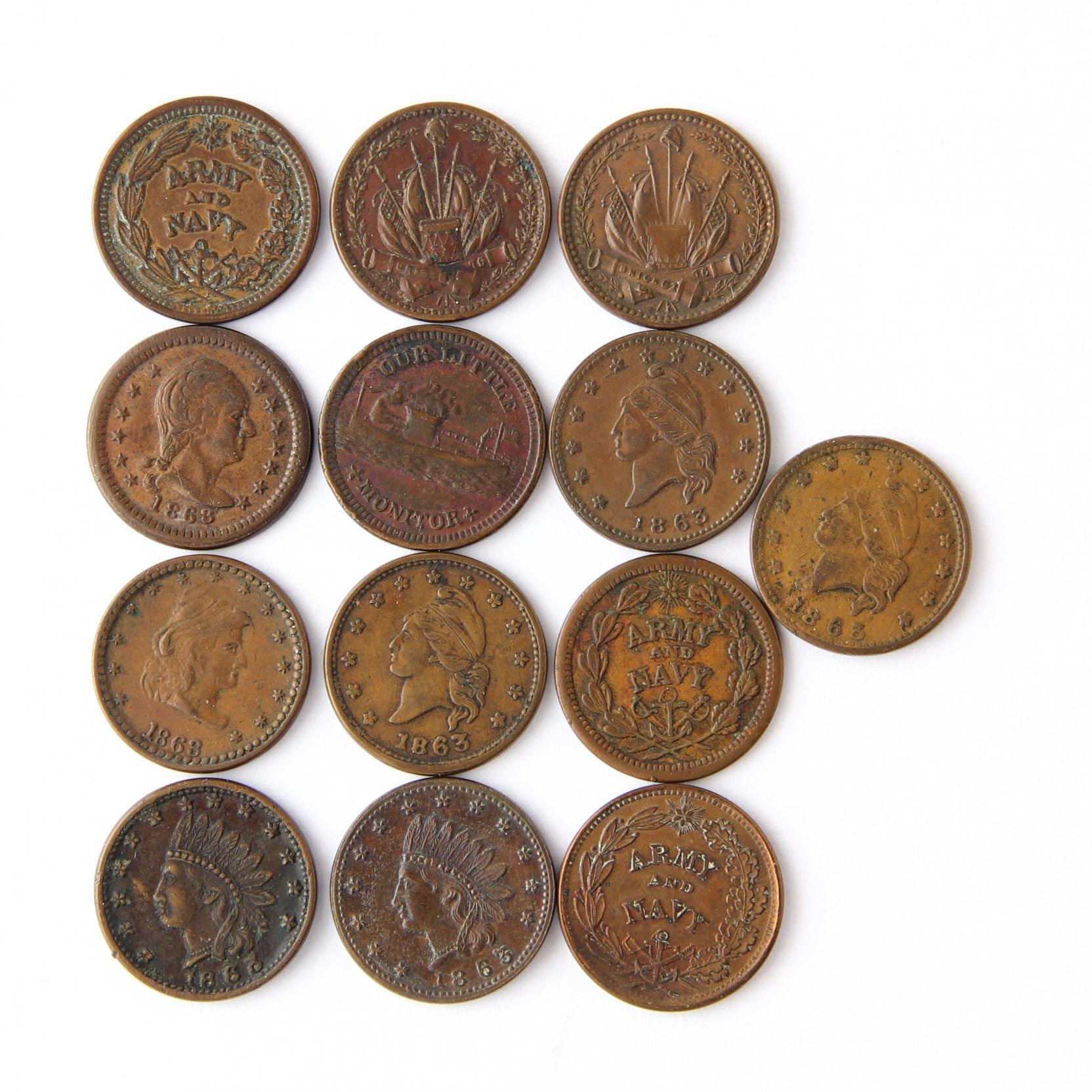 thirteen-civil-war-tokens