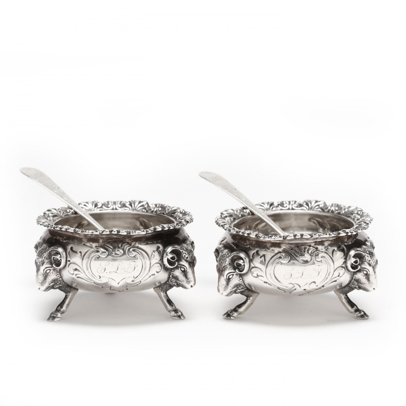 a-pair-of-gorham-coin-silver-salt-cellars-and-a-pair-of-baltimore-coin-silver-salt-spoons