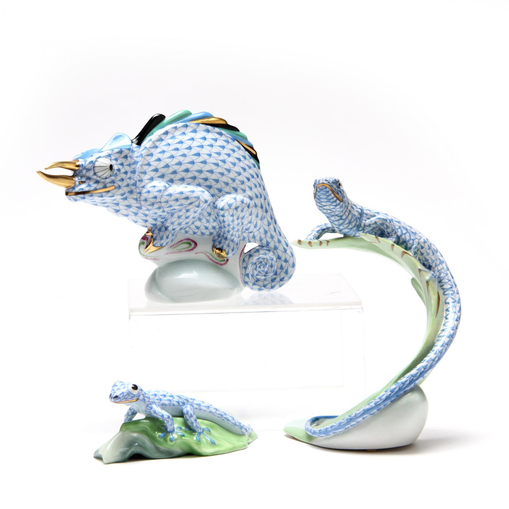 three-herend-lizard-figurines