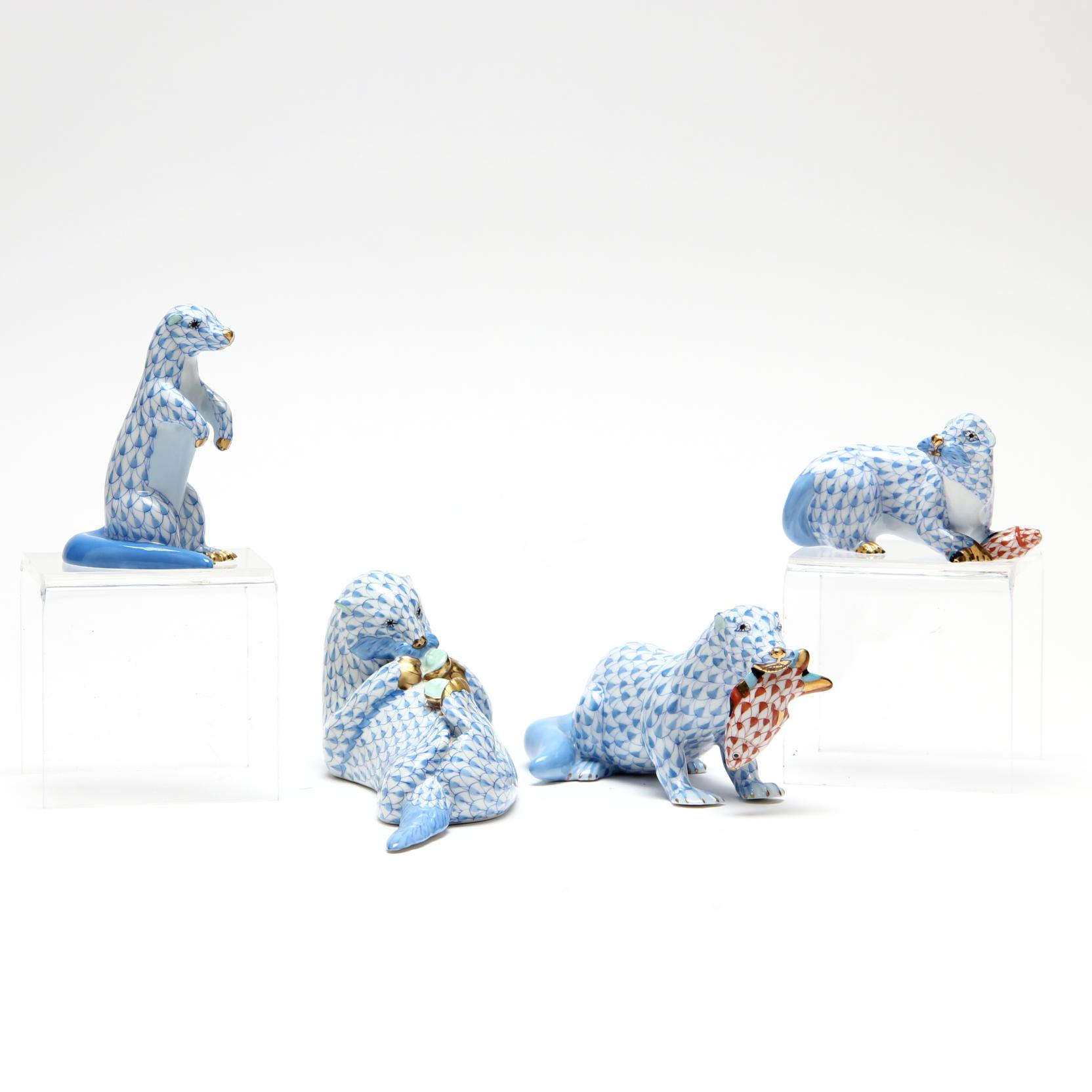 four-herend-otter-figurines