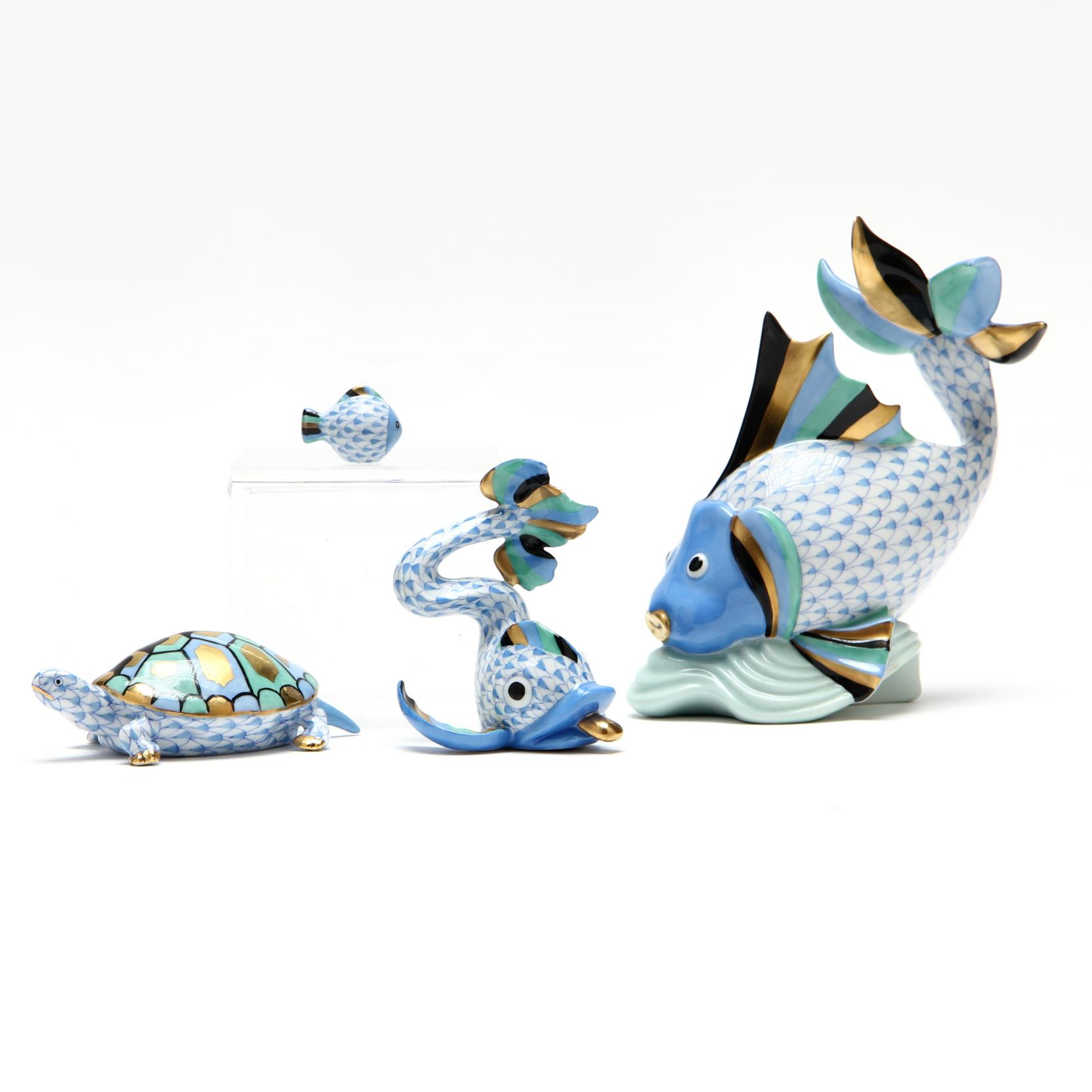three-herend-fish-figurines-and-a-tortoise