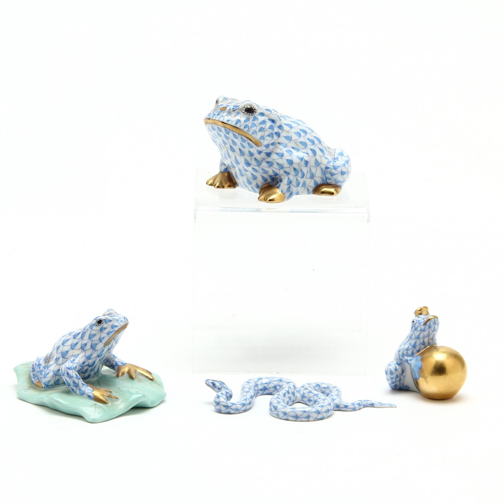 three-herend-frog-figurines-and-a-snake