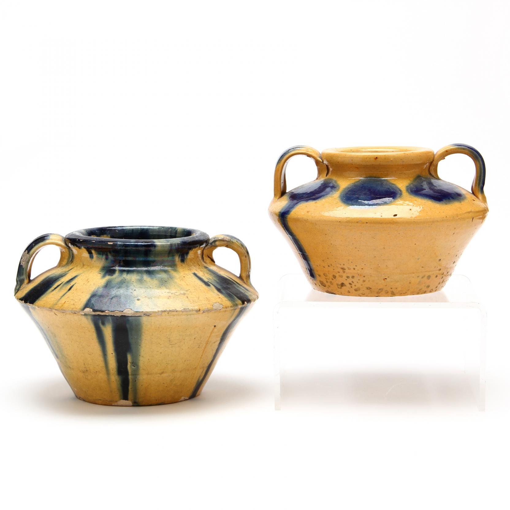 two-c-r-auman-pottery-low-vases
