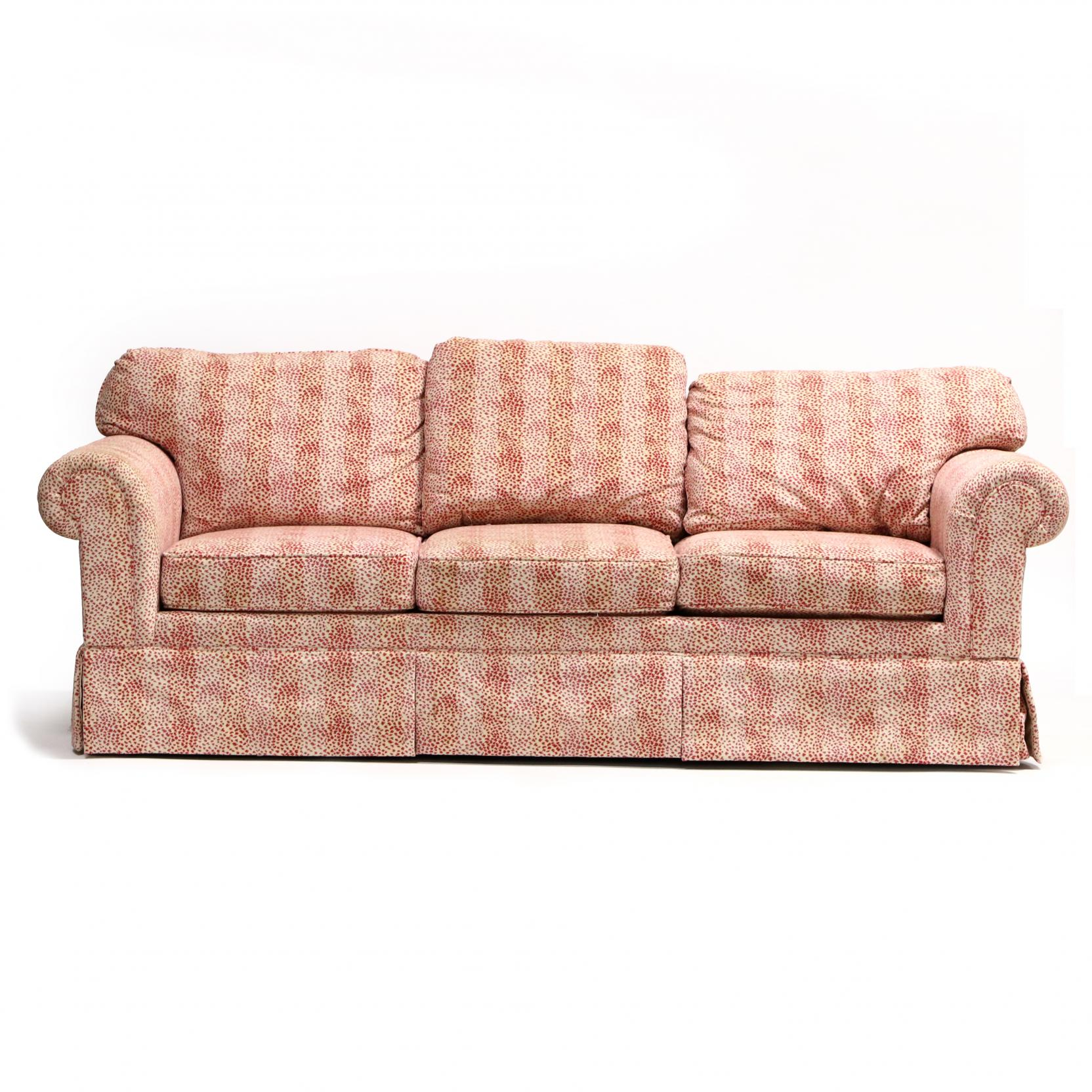 heirloom-red-and-white-animal-print-sofa