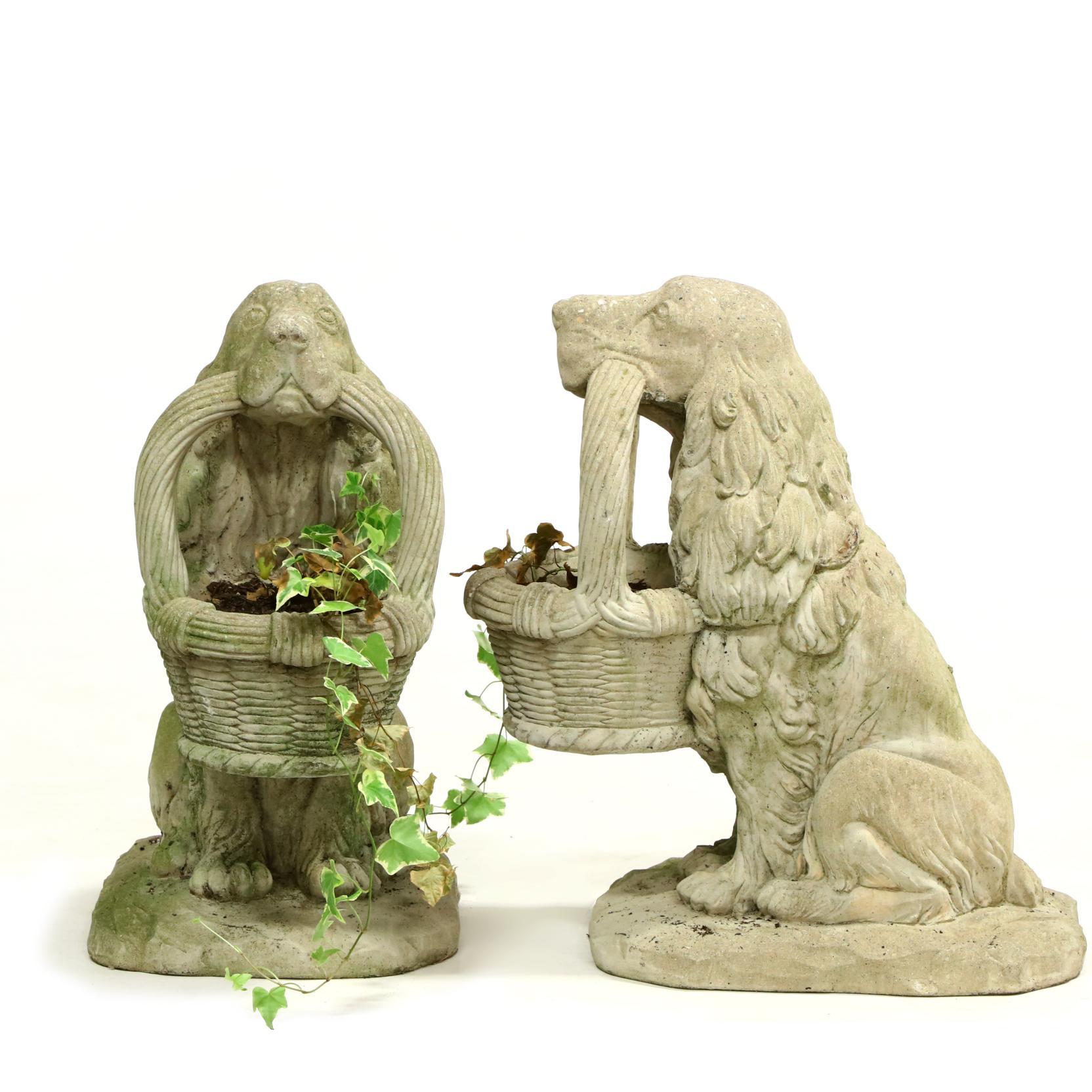 pair-of-cast-stone-spaniel-planters