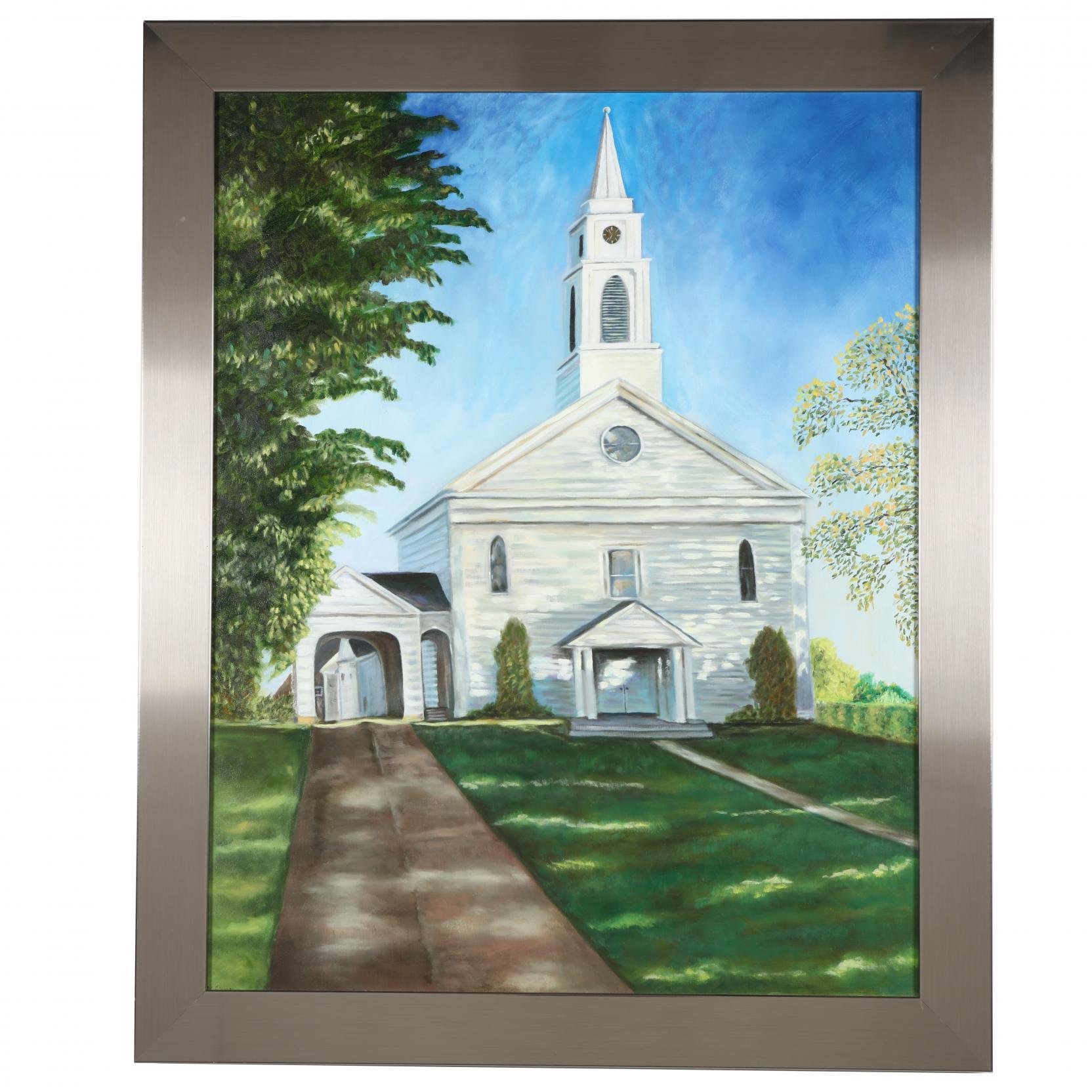 mark-simon-20th-century-framed-painting-of-a-church-with-steeple