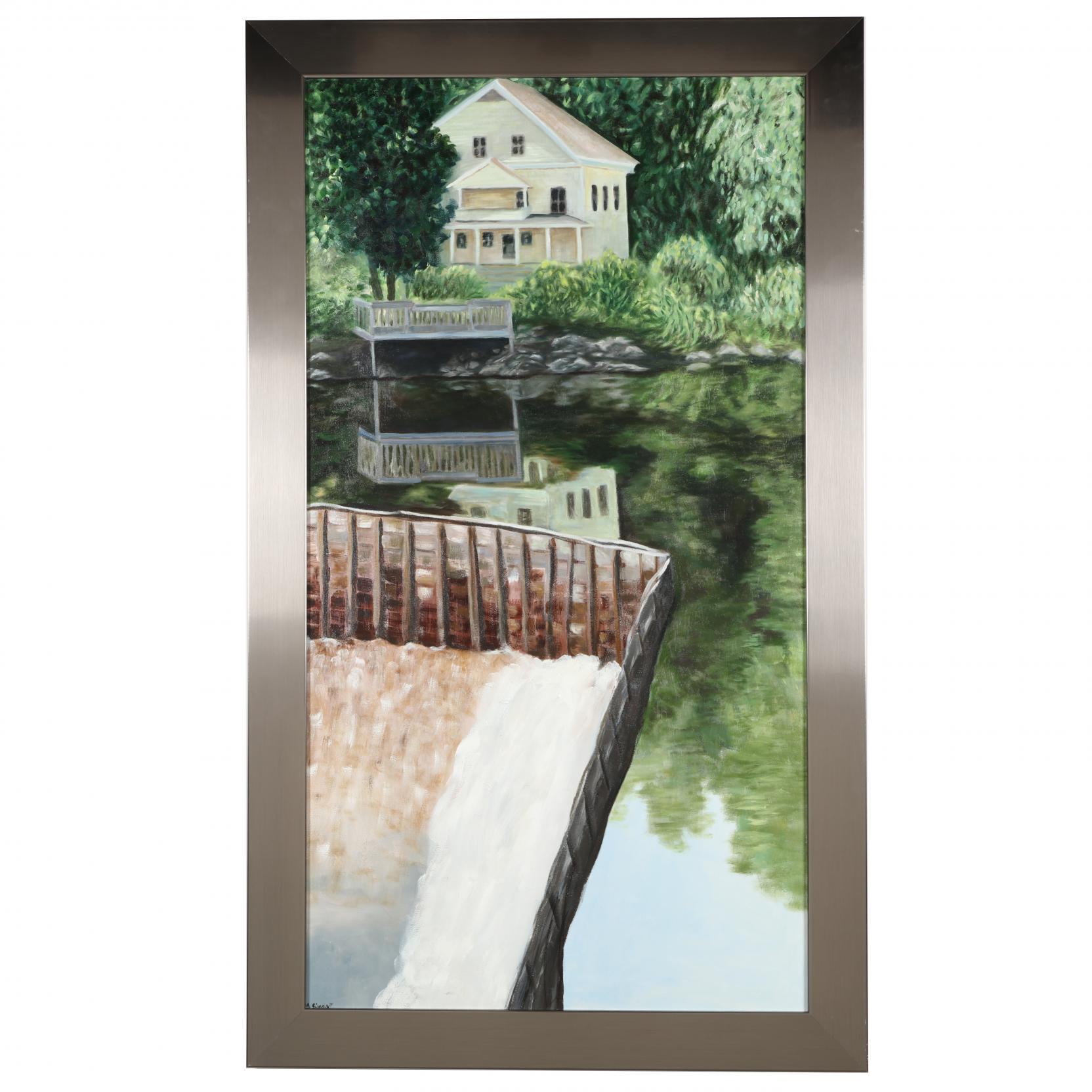mark-simon-20th-c-framed-lake-house-view