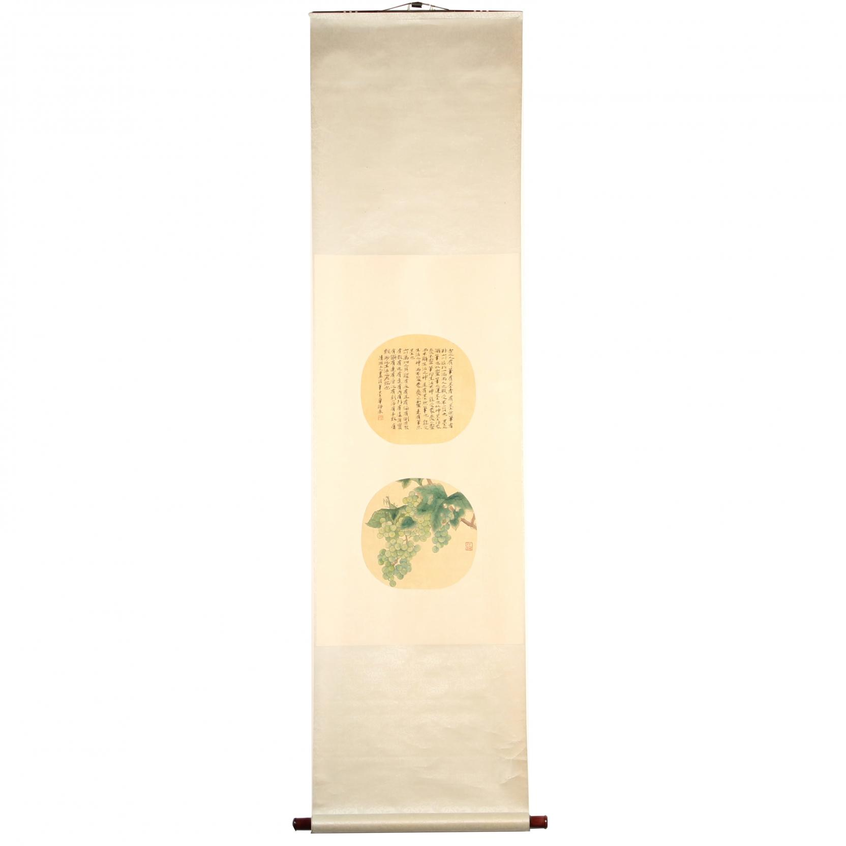 a-hanging-scroll-with-praying-mantis-and-grape-leaves