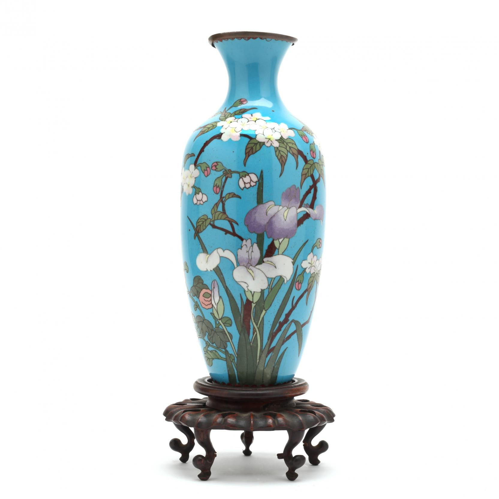 a-tall-blue-ground-cloisonne-vase-with-flowers