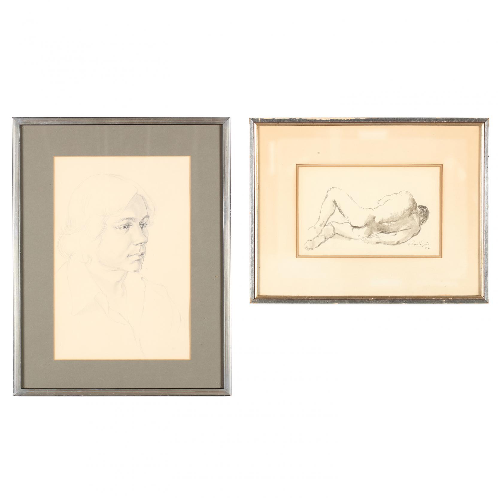 two-mid-century-graphite-figural-studies