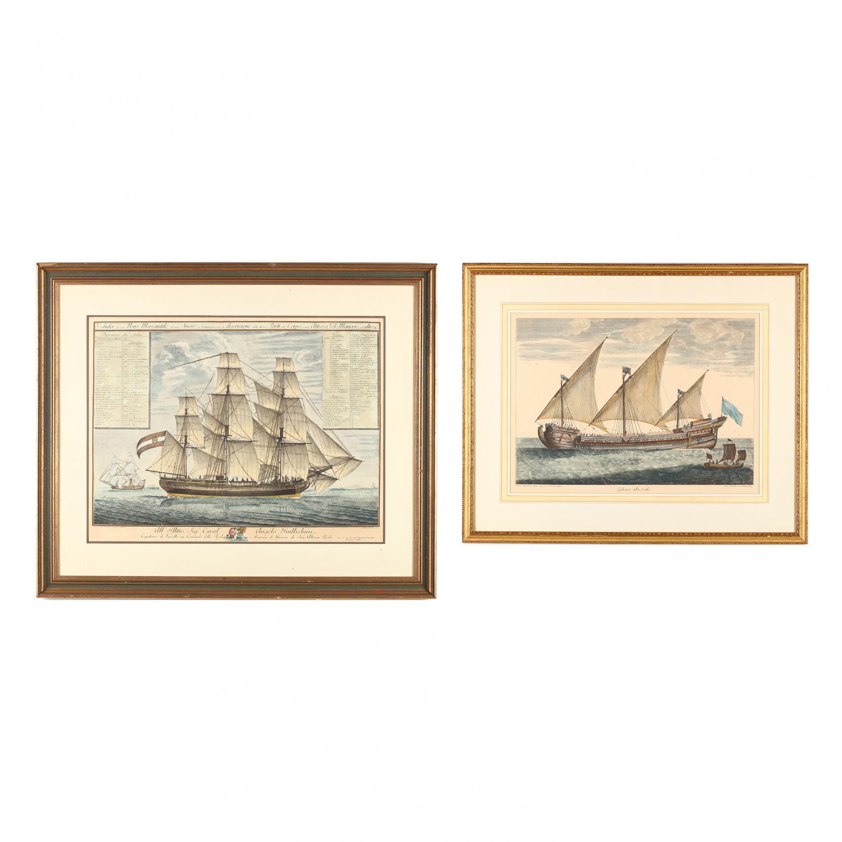 two-nautical-engravings-illustrating-italian-vessels