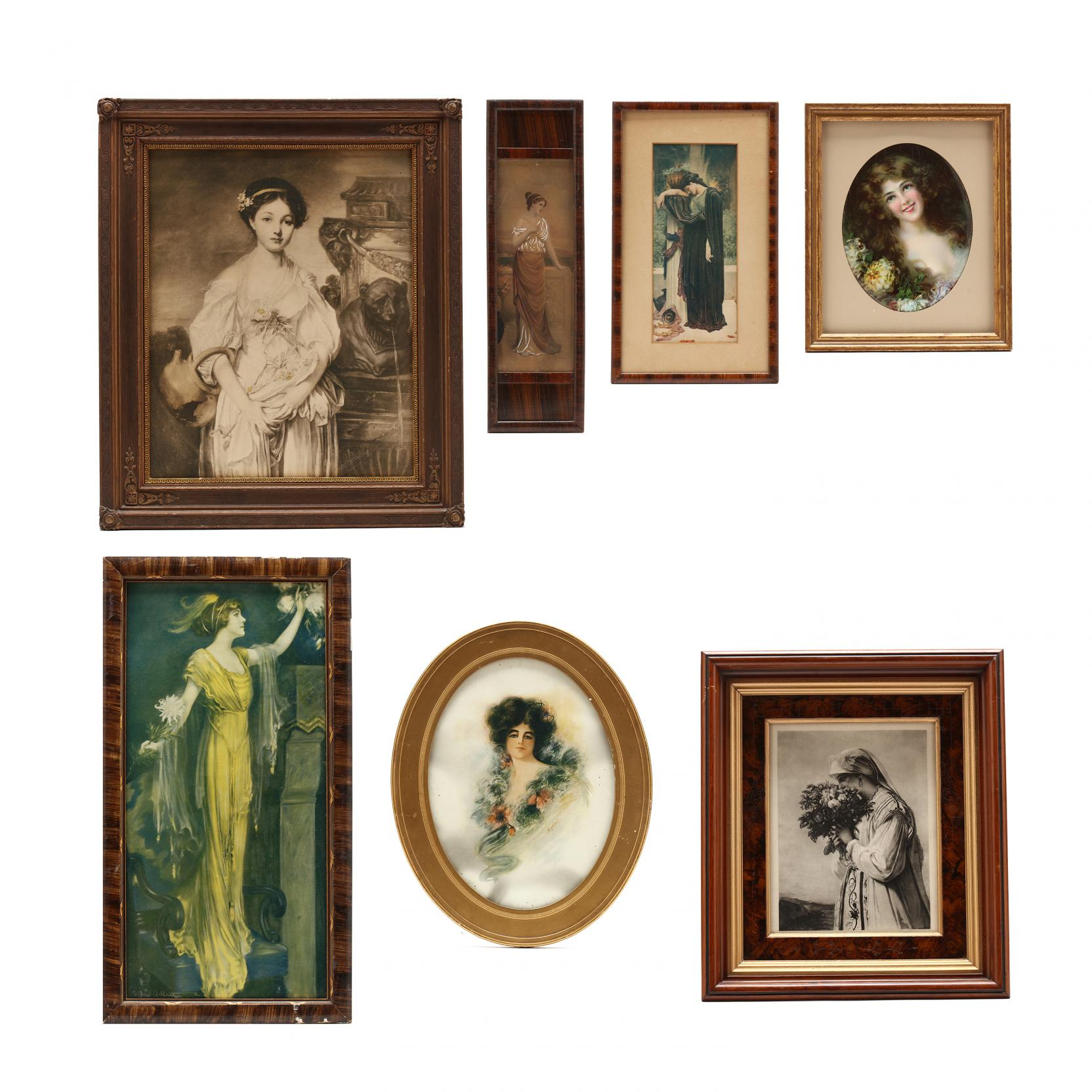 a-collection-of-seven-vintage-antique-prints-of-beautiful-women