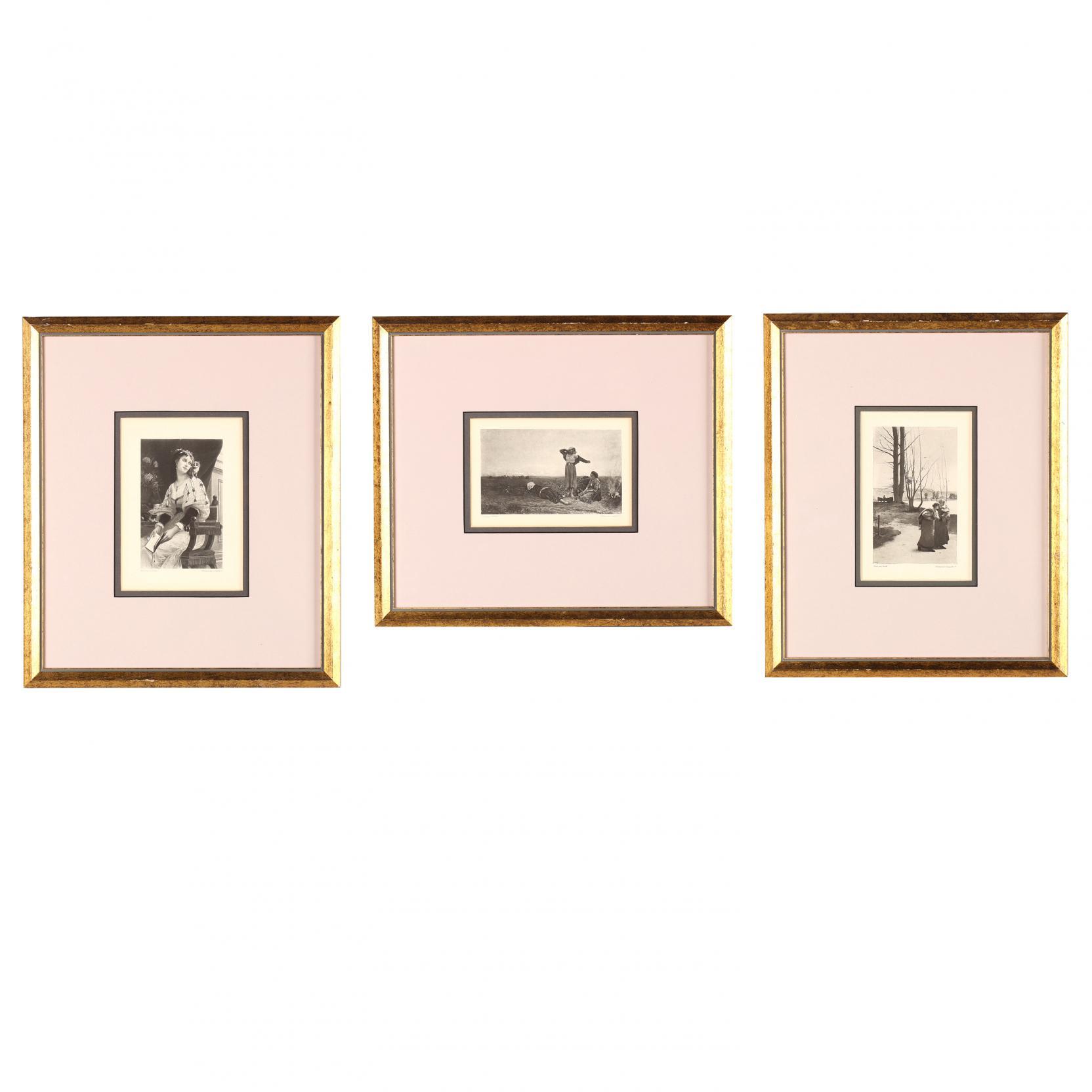 three-antique-framed-photogravures
