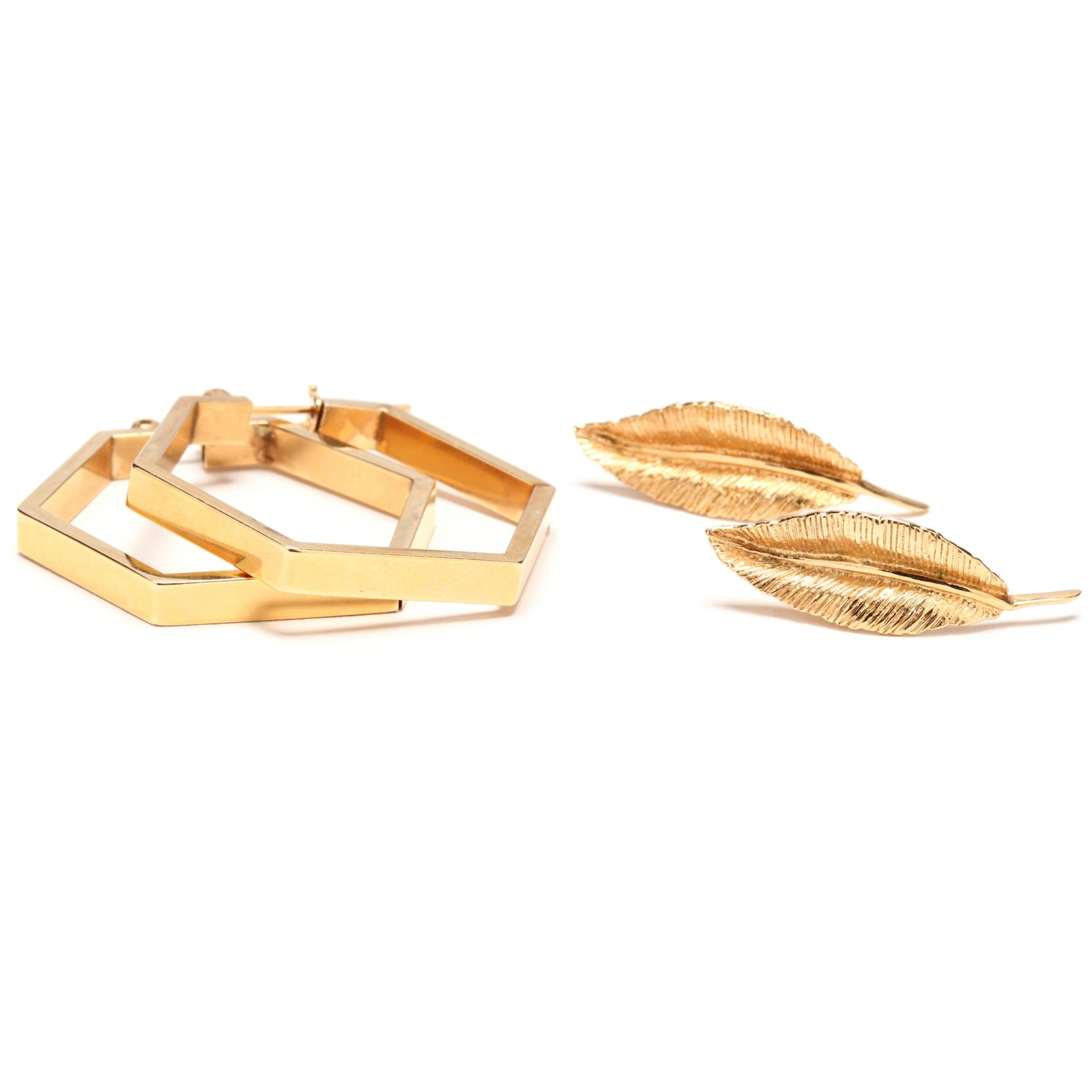 two-pairs-of-14kt-yellow-gold-earrings