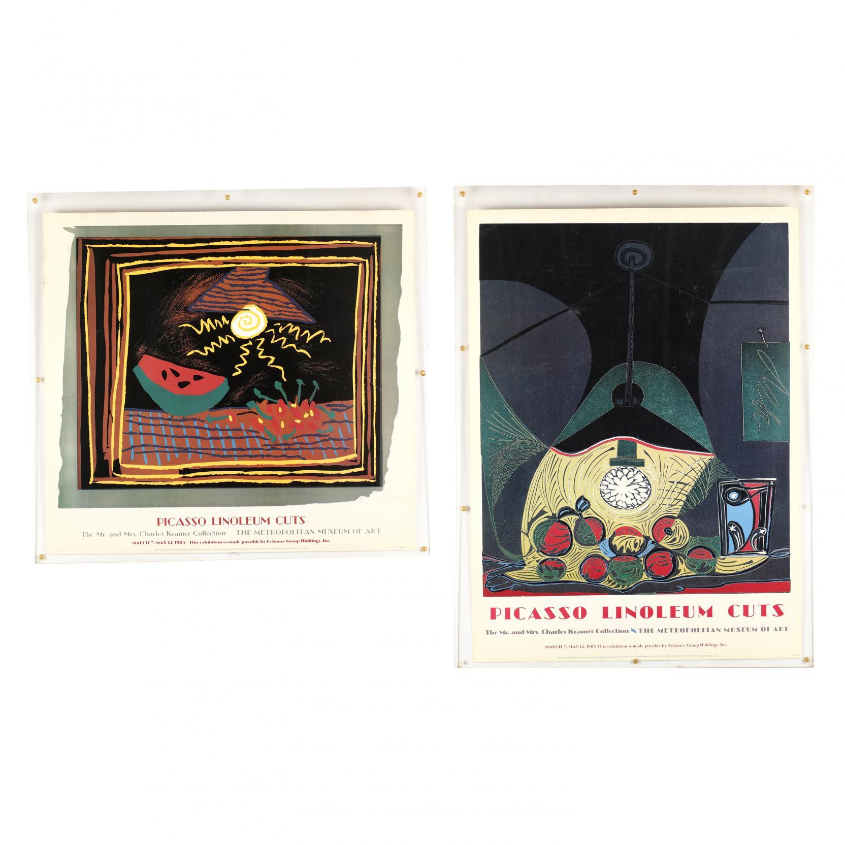 two-exhibition-posters-for-picasso-linoleum-cuts-metropolitan-museum-1985