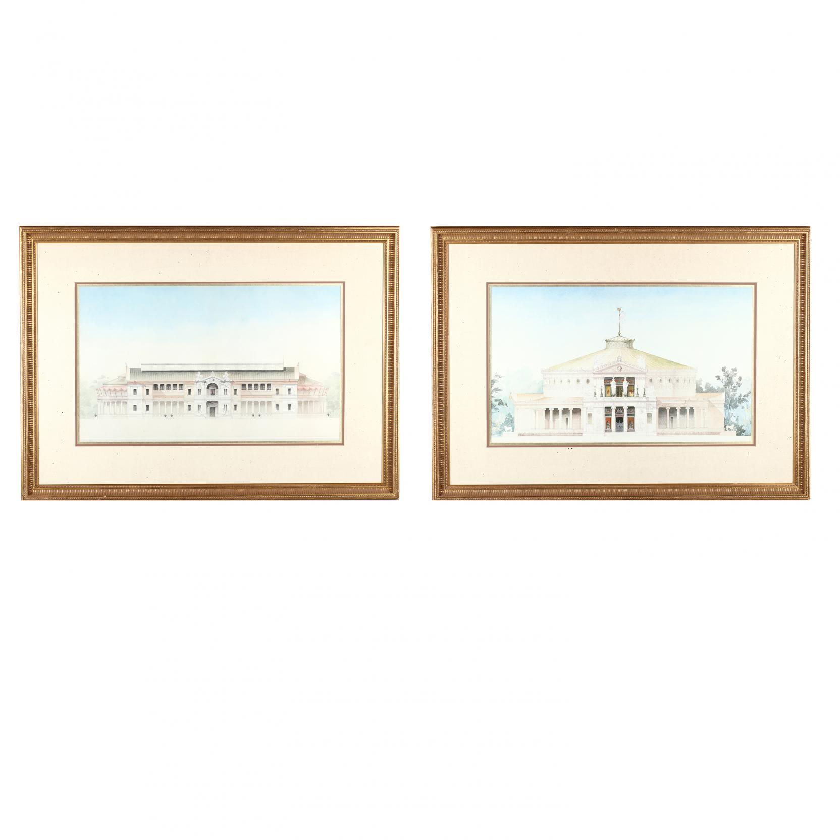 pair-of-large-framed-prints-illustrating-classical-architecture