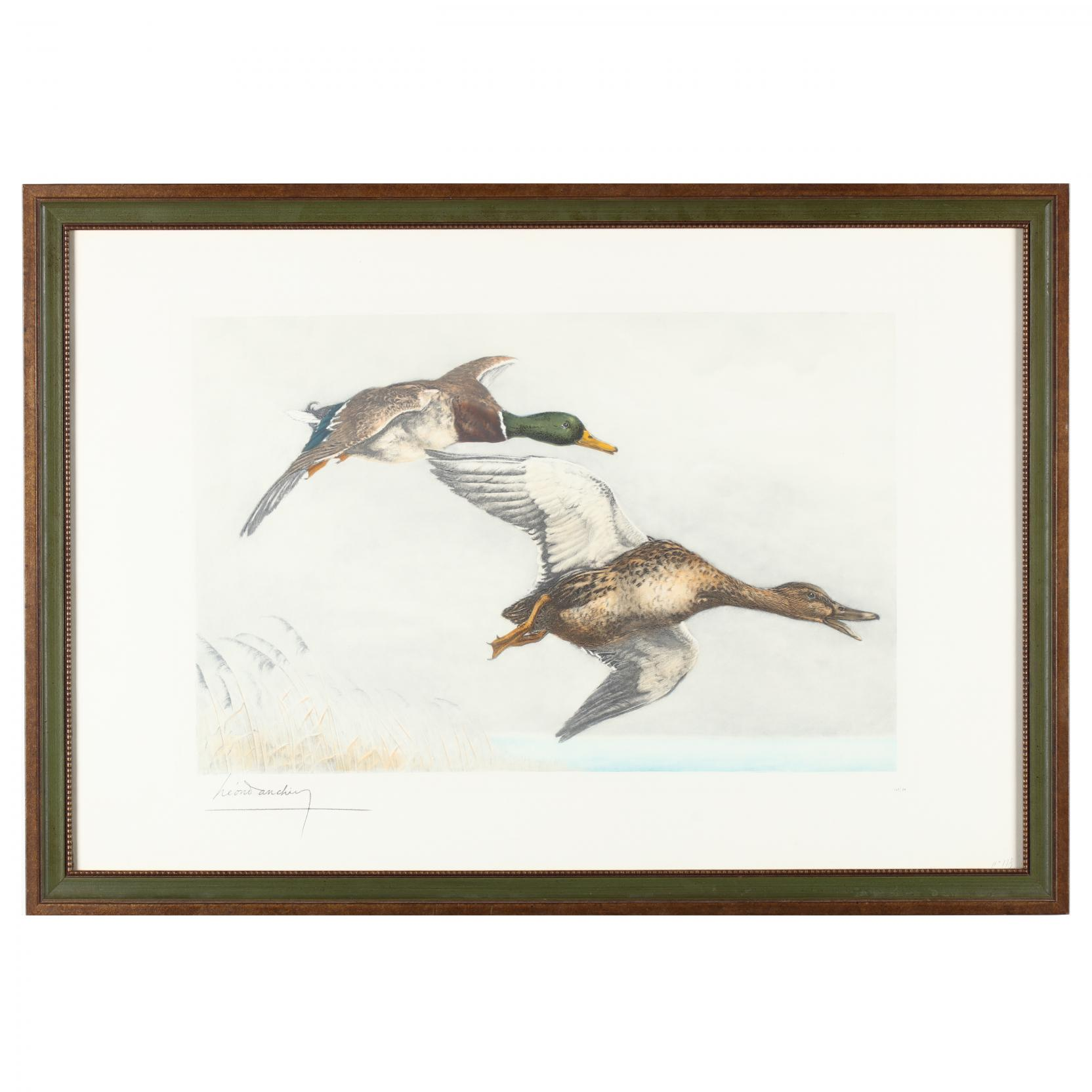 leon-danchin-french-1887-1939-two-ducks-in-flight-over-marsh