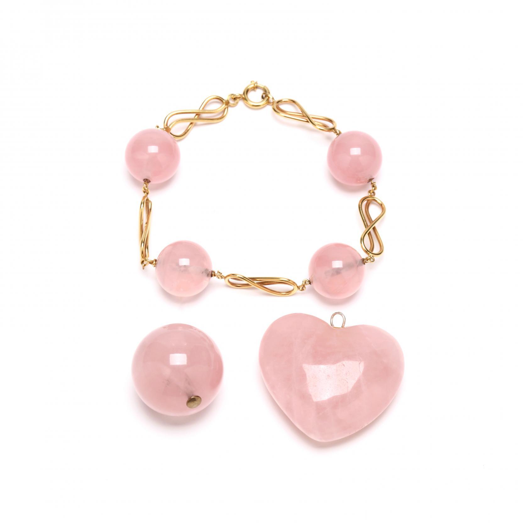14kt-rose-quartz-bracelet-with-two-rose-quartz-pendants