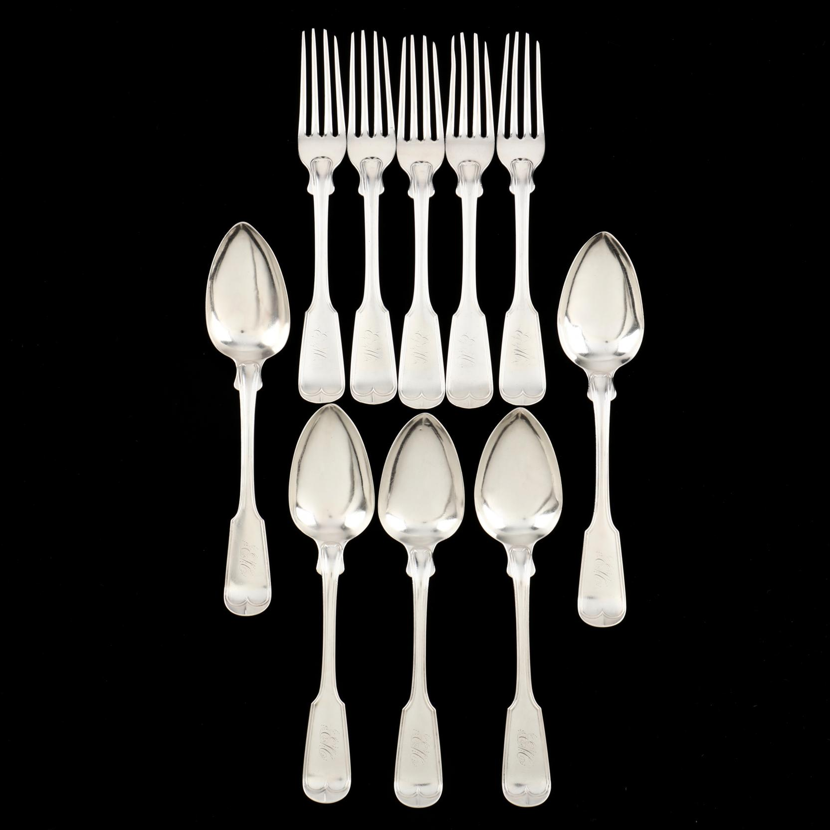 ten-pieces-of-southern-coin-silver-flatware