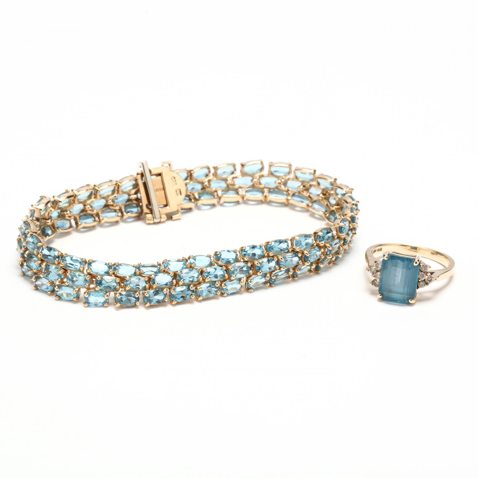 14kt-blue-topaz-bracelet-with-a-14kt-topaz-and-diamond-ring