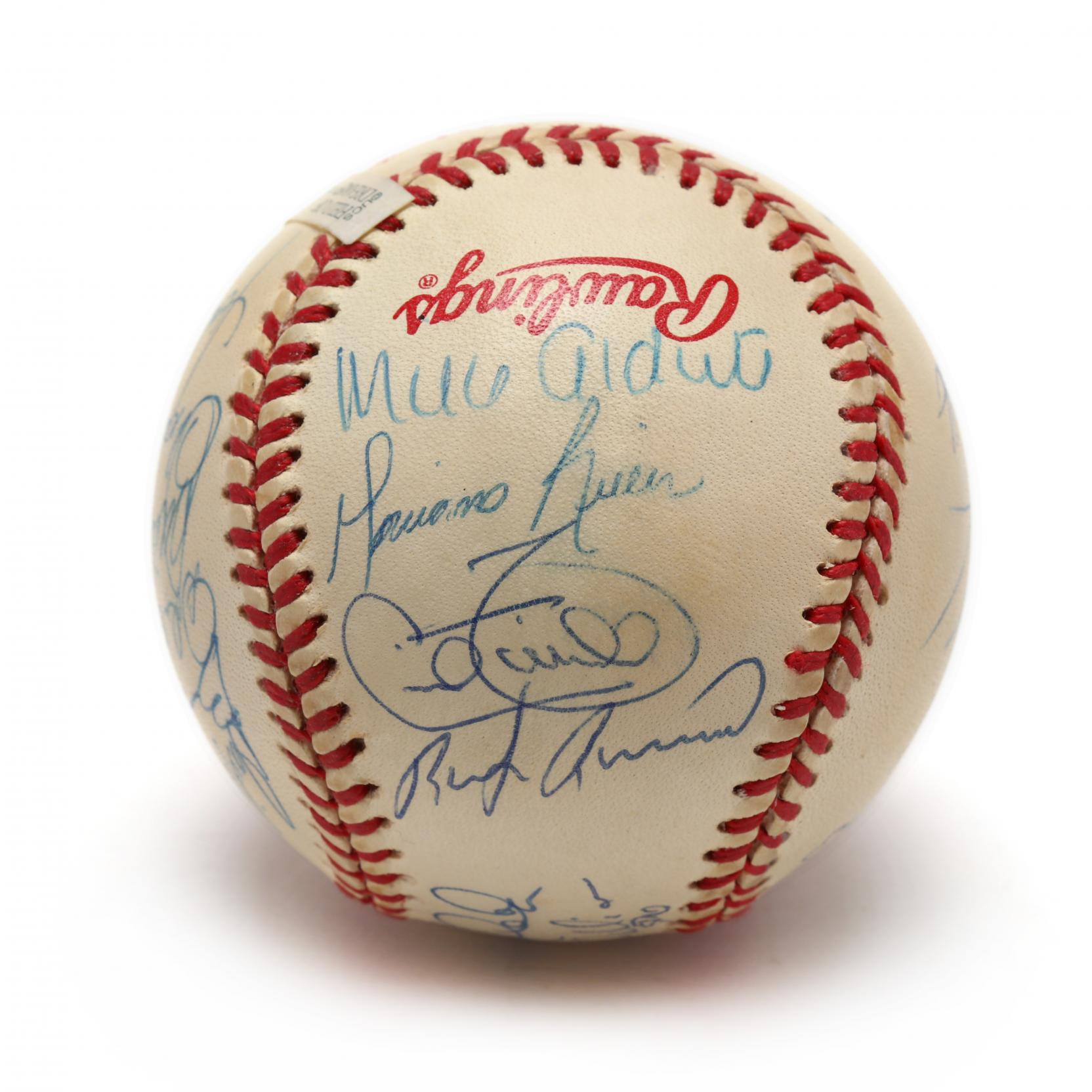 official-rawlings-1996-world-champion-new-york-yankees-team-signed-baseball-with-19-signatures-including-rookies-jeter-pettitte-rivera-psa-dna