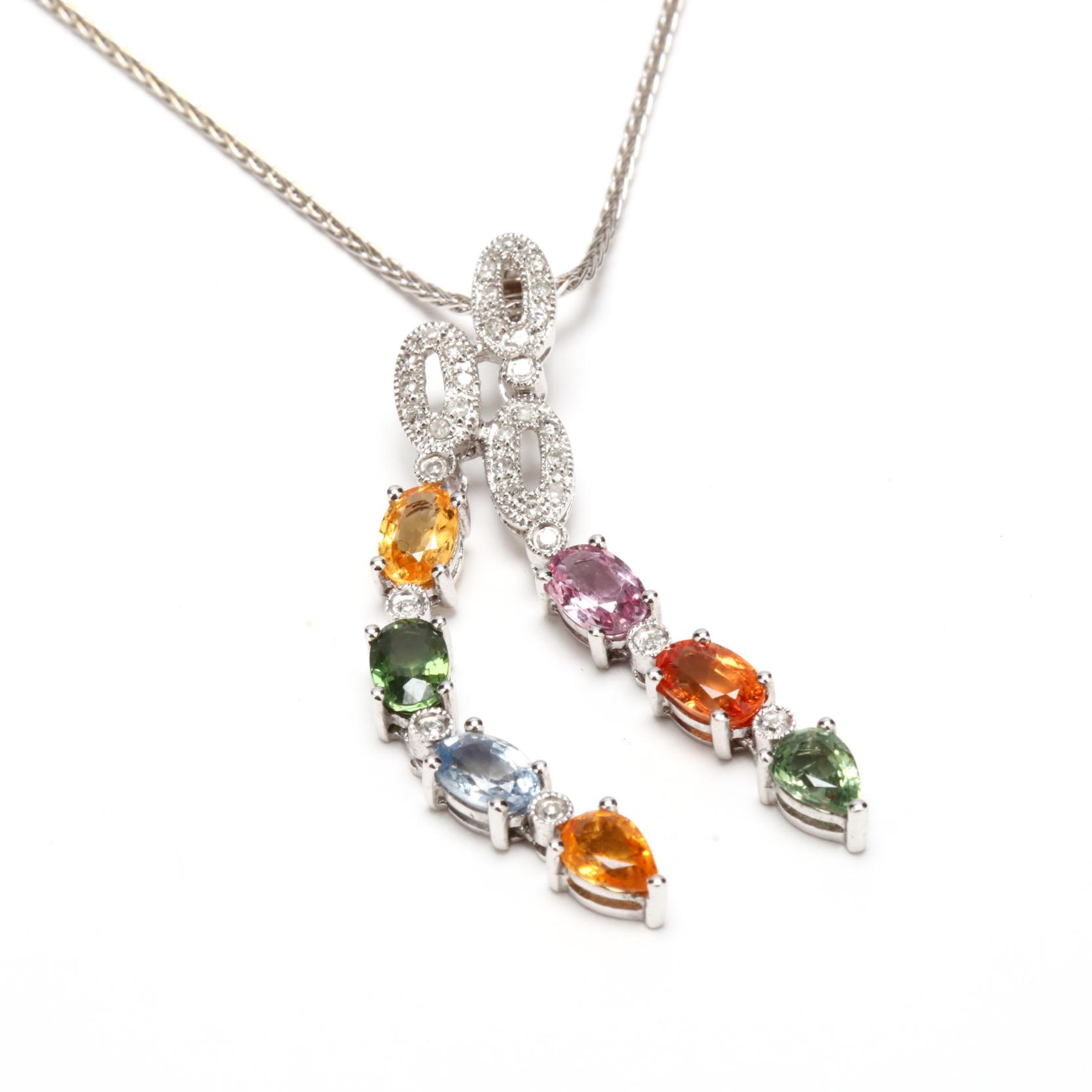 14kt-white-gold-synthetic-stone-and-diamond-pendant-necklace