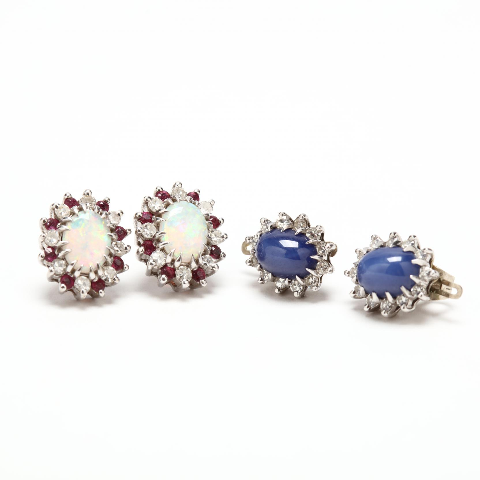 two-pairs-white-gold-and-gem-set-earrings