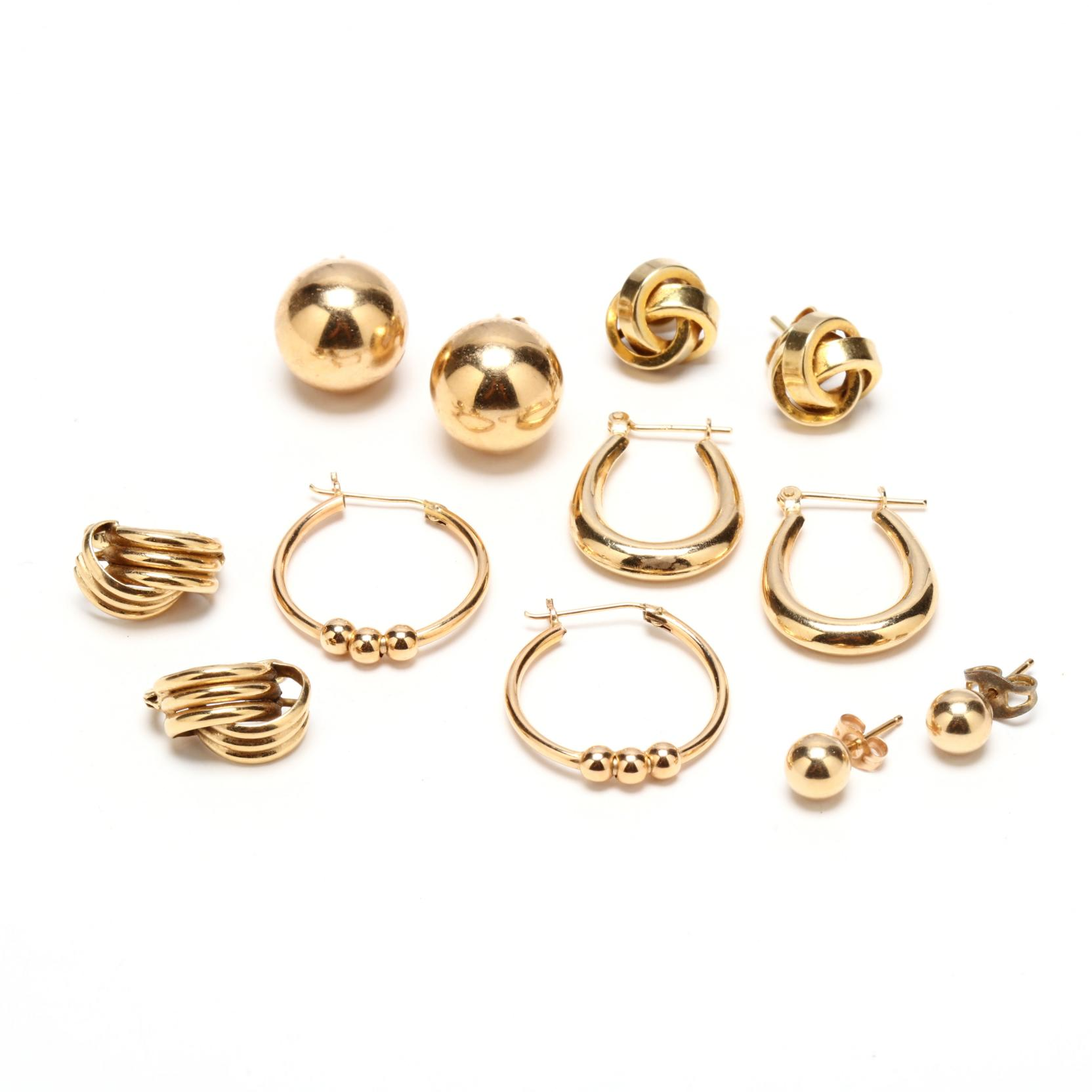 six-pairs-14kt-gold-earrings