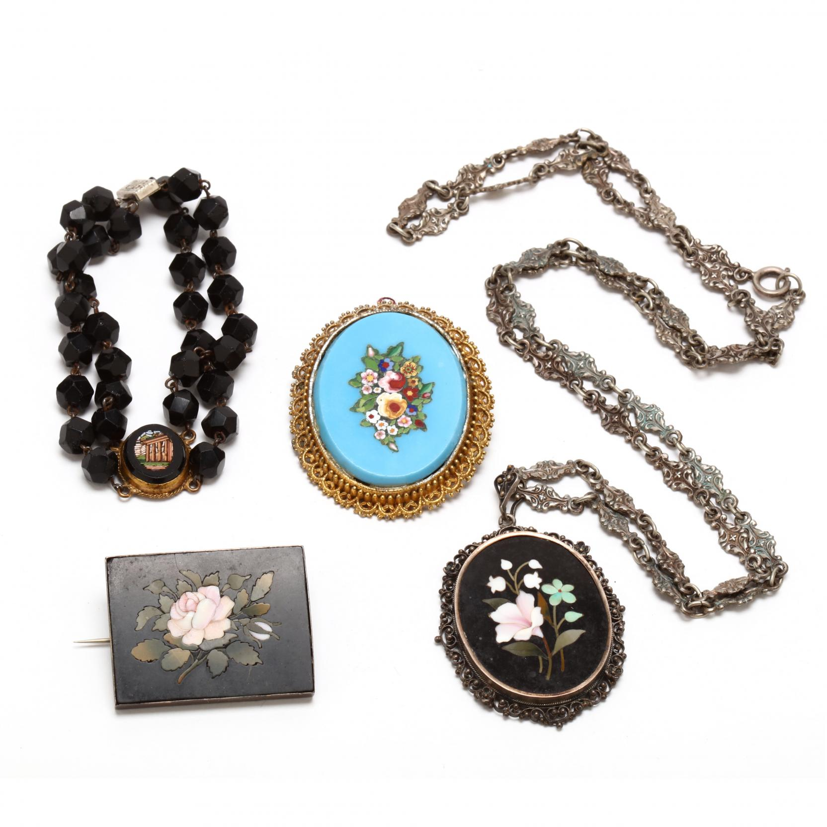antique-pietra-dura-and-micro-mosaic-jewelry-lot