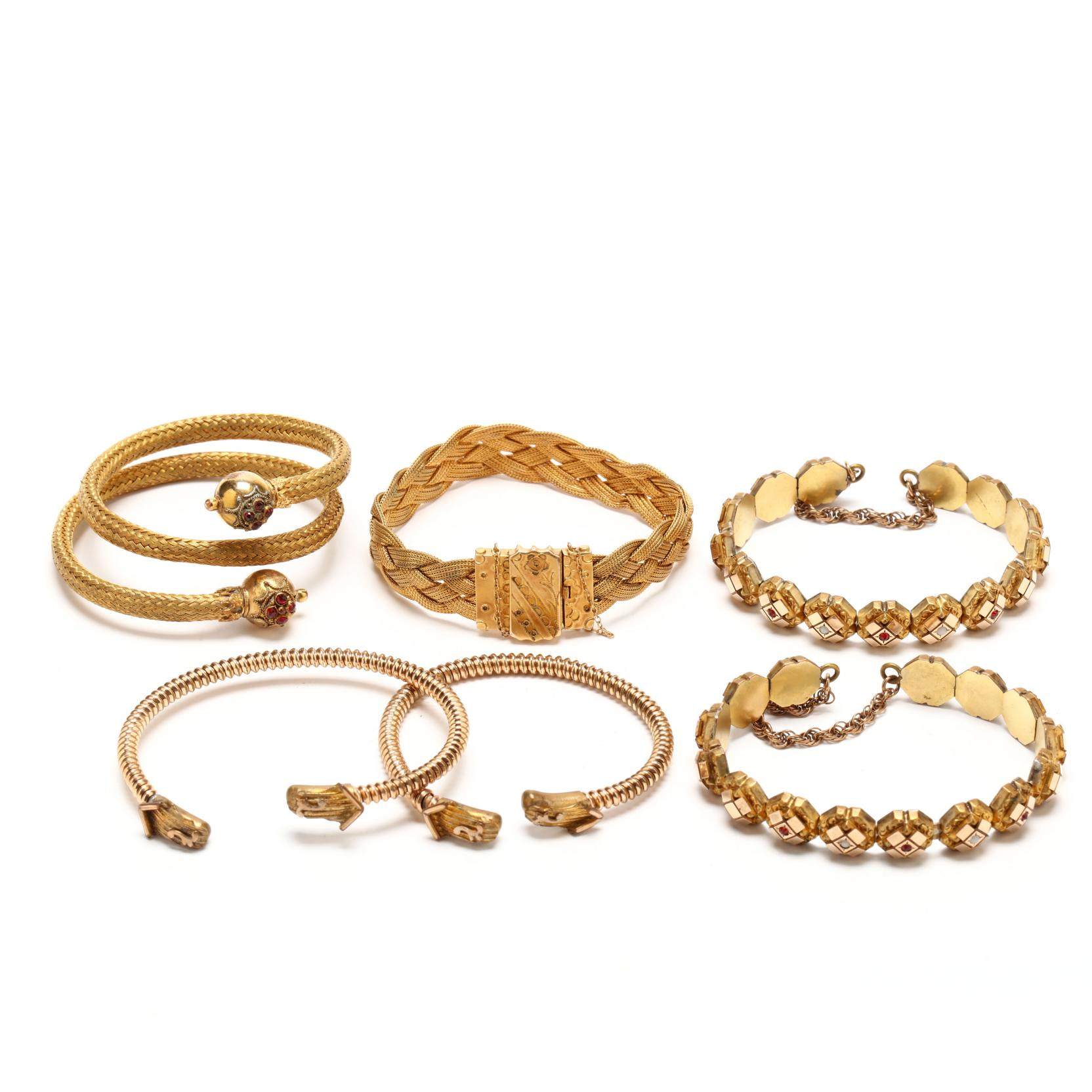 six-victorian-gold-filled-bracelets