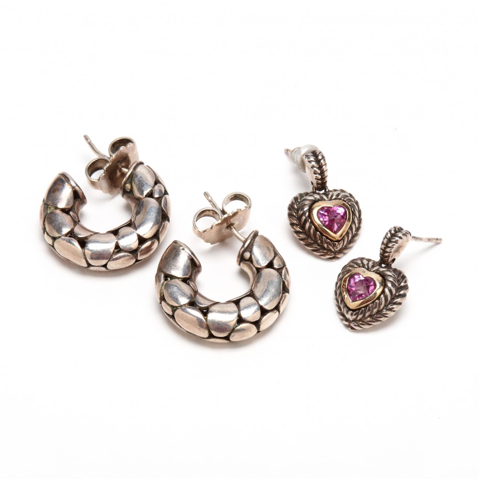 a-pair-of-john-hardy-sterling-earrings-and-a-pair-of-silver-and-10kt-gold-earrings