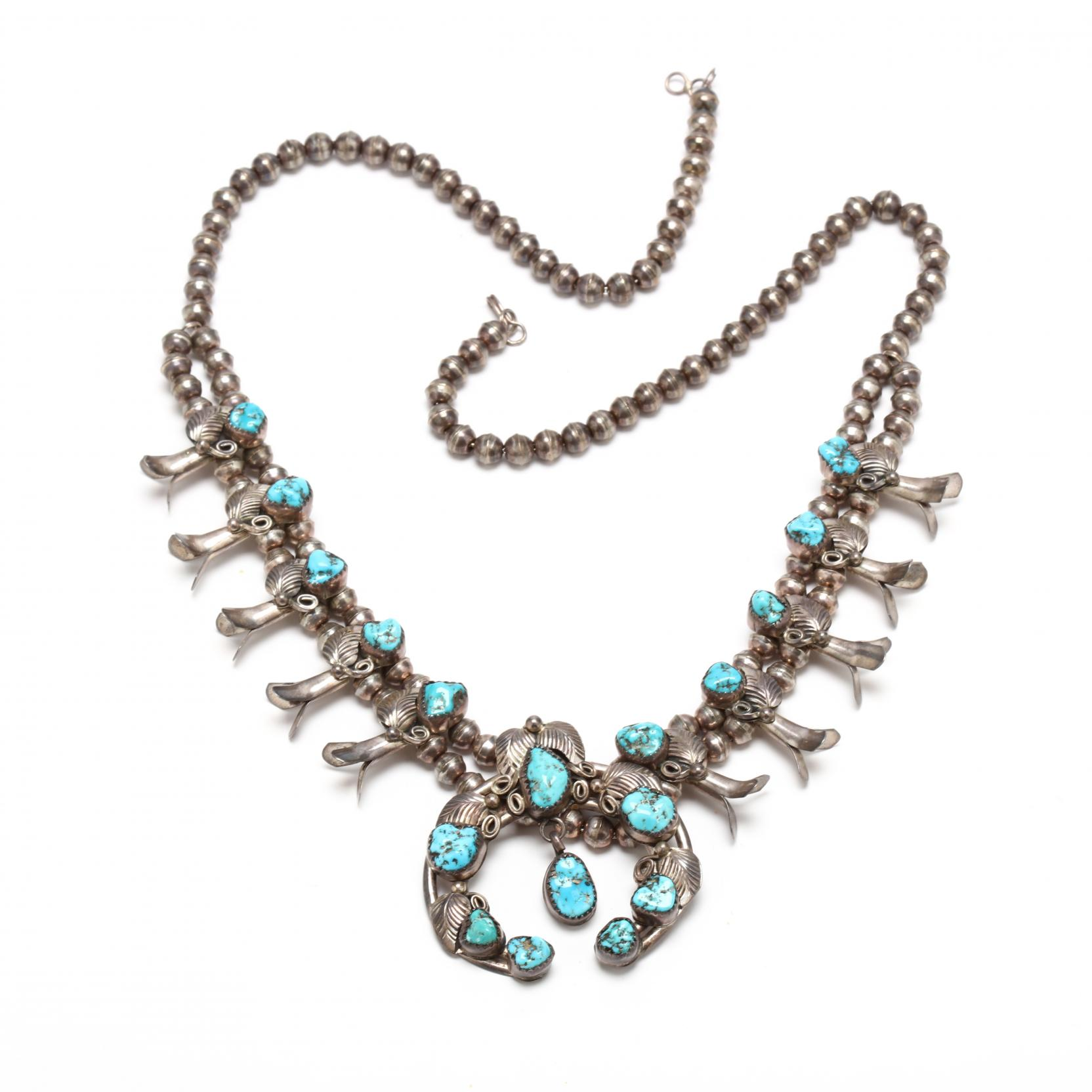 southwestern-sterling-and-turquoise-squash-blossom-necklace