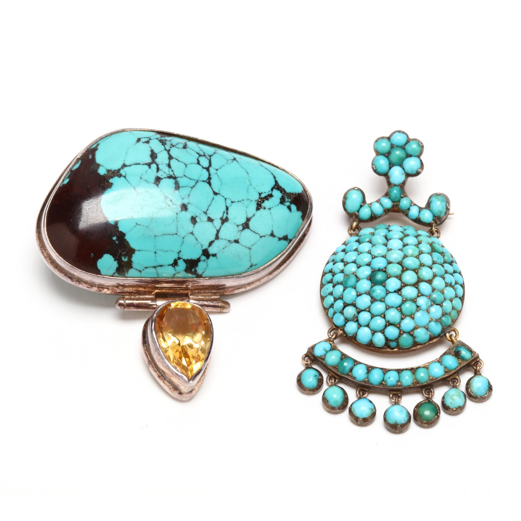 two-turquoise-pendants