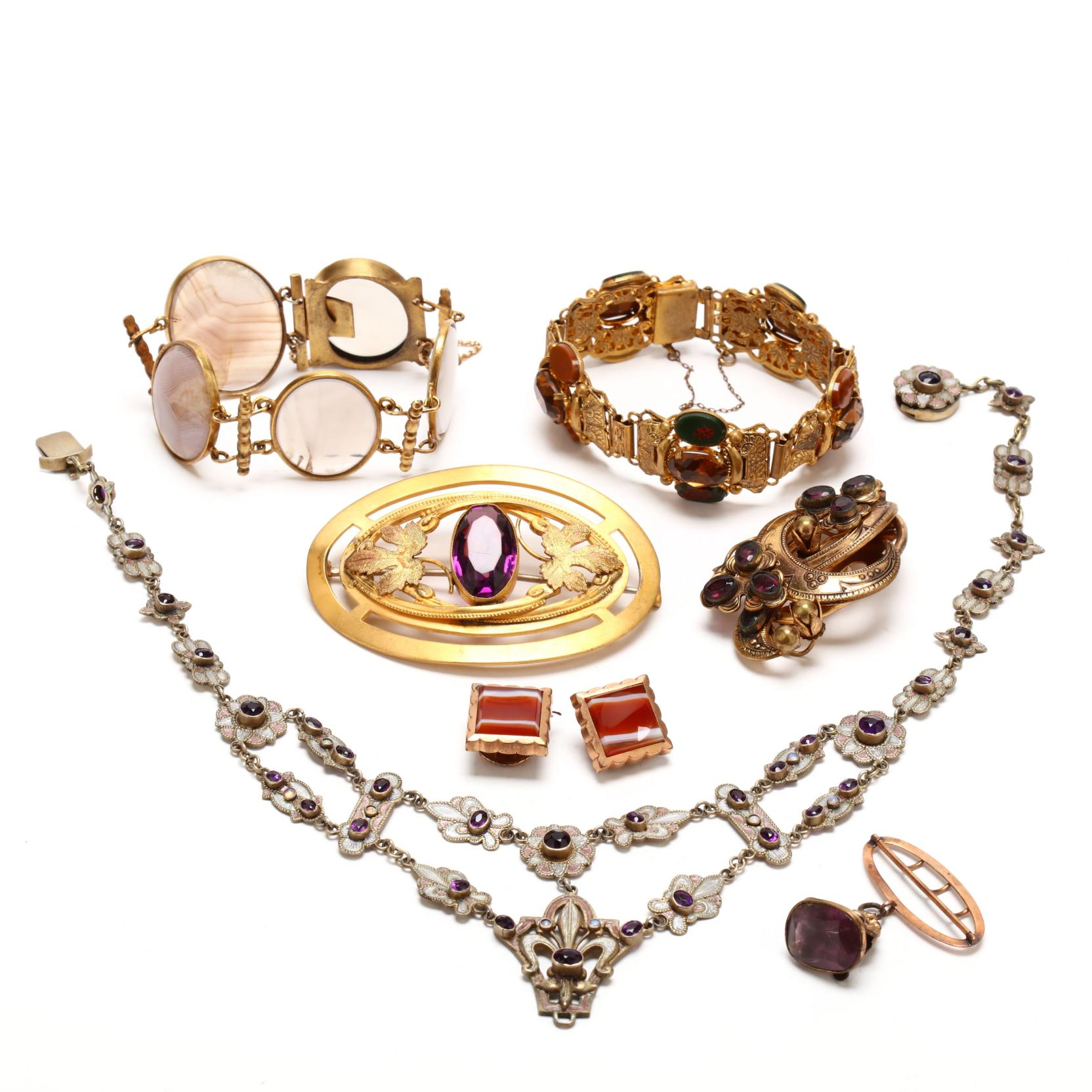 victorian-jewelry-set-with-purple-stones-or-agate