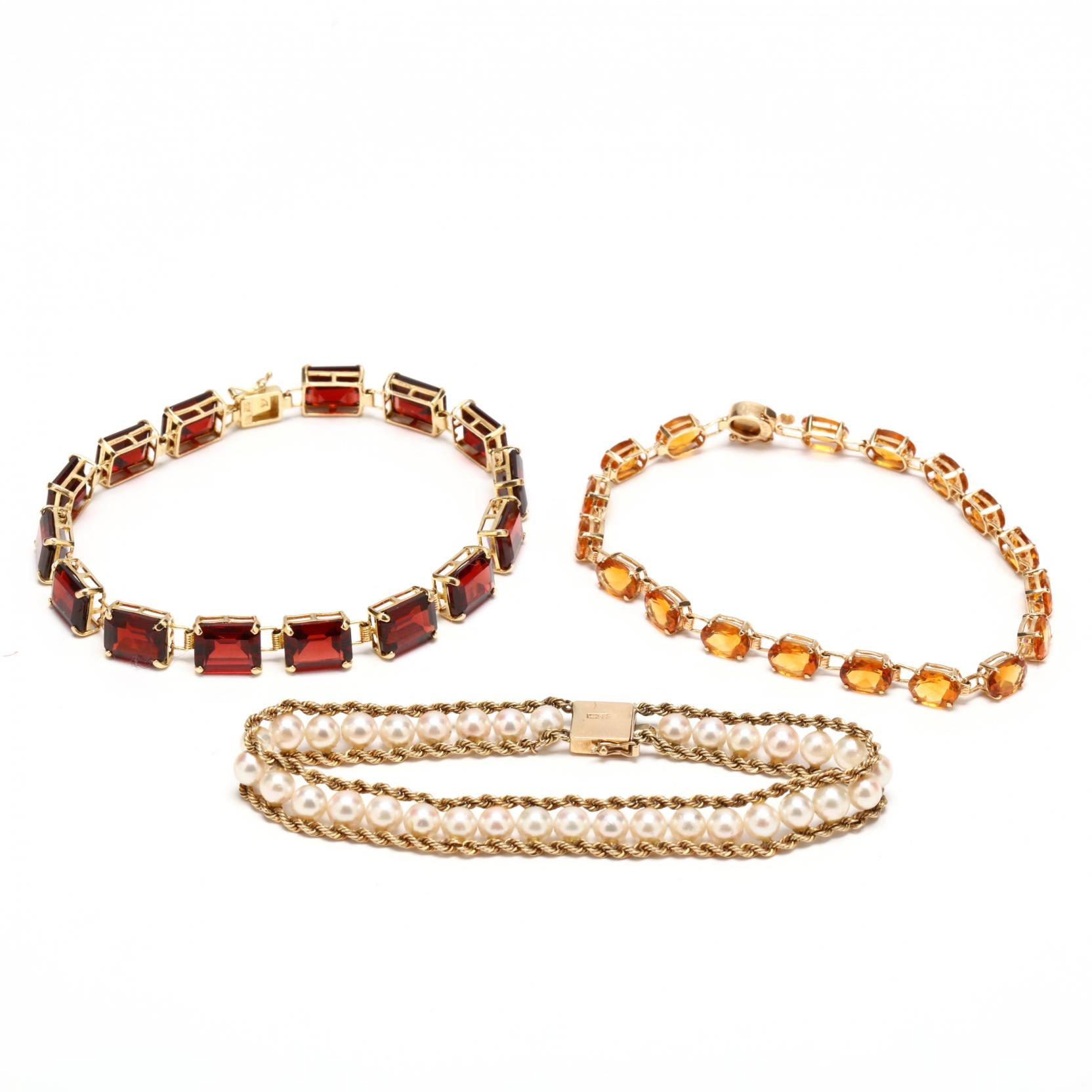 three-14kt-gem-set-bracelets