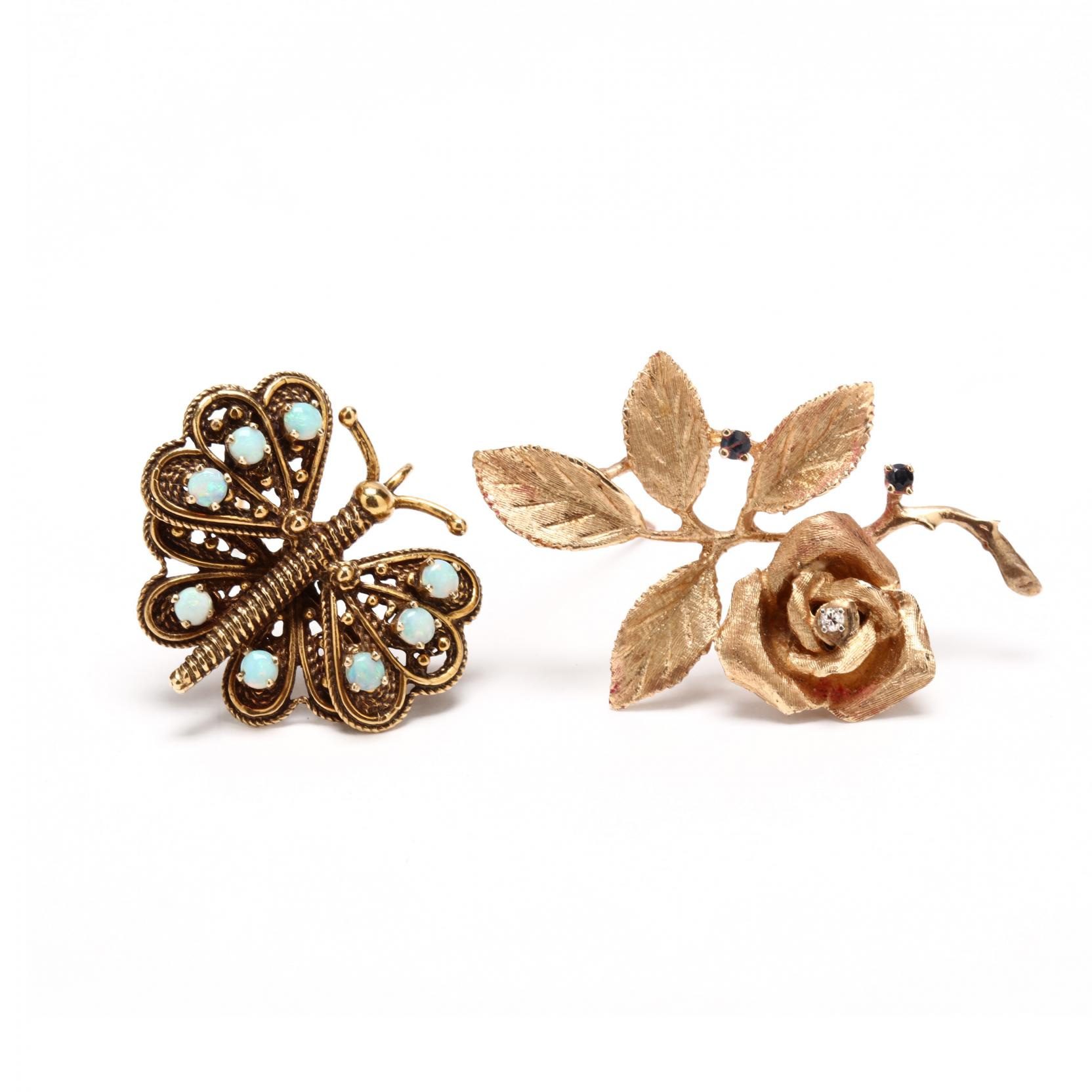 two-14kt-and-gem-set-brooches