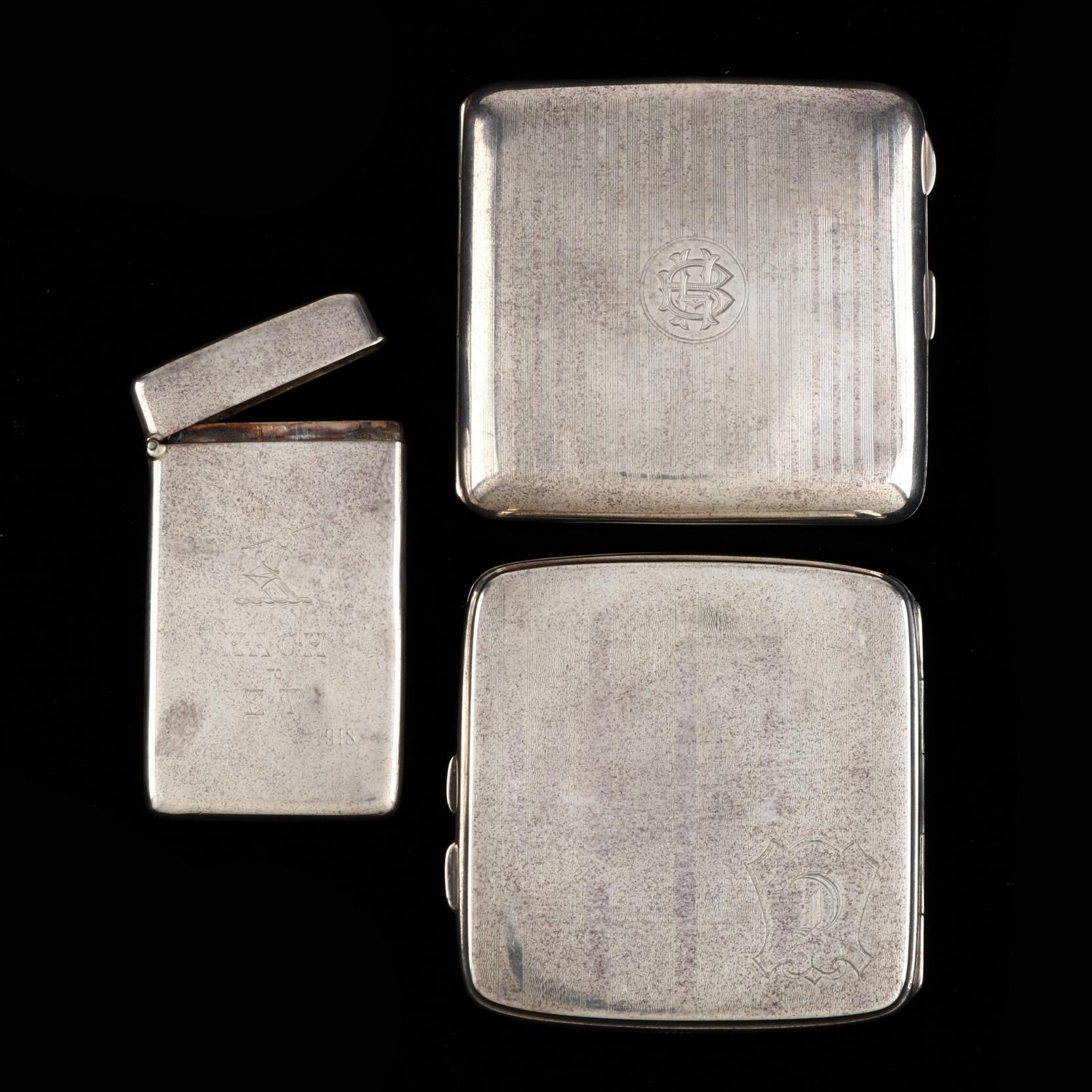 three-english-silver-cigarette-vesta-cases