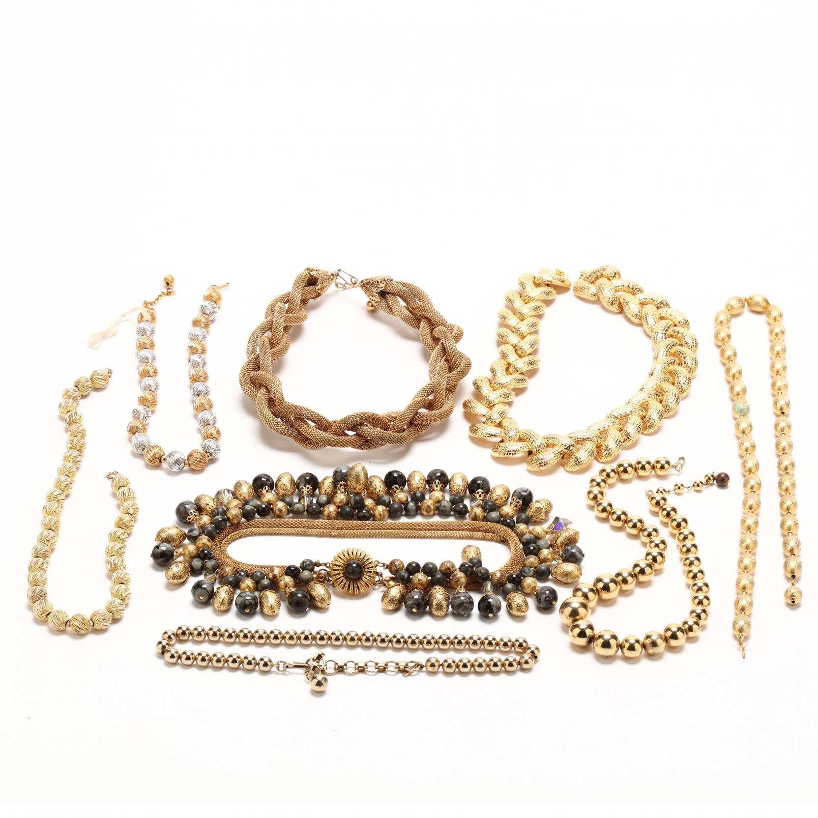 group-of-gold-tone-costume-jewelry