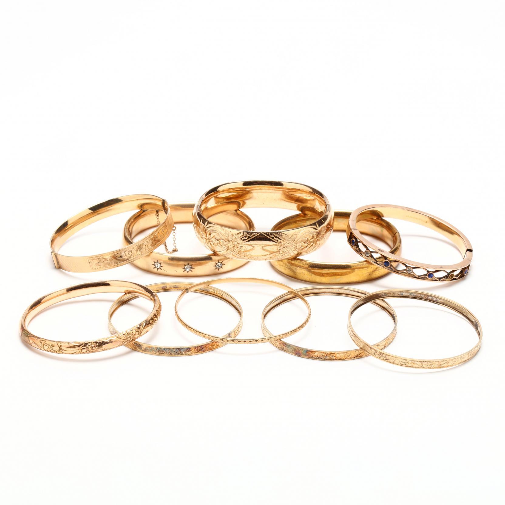 group-of-ten-gold-filled-bangle-bracelets