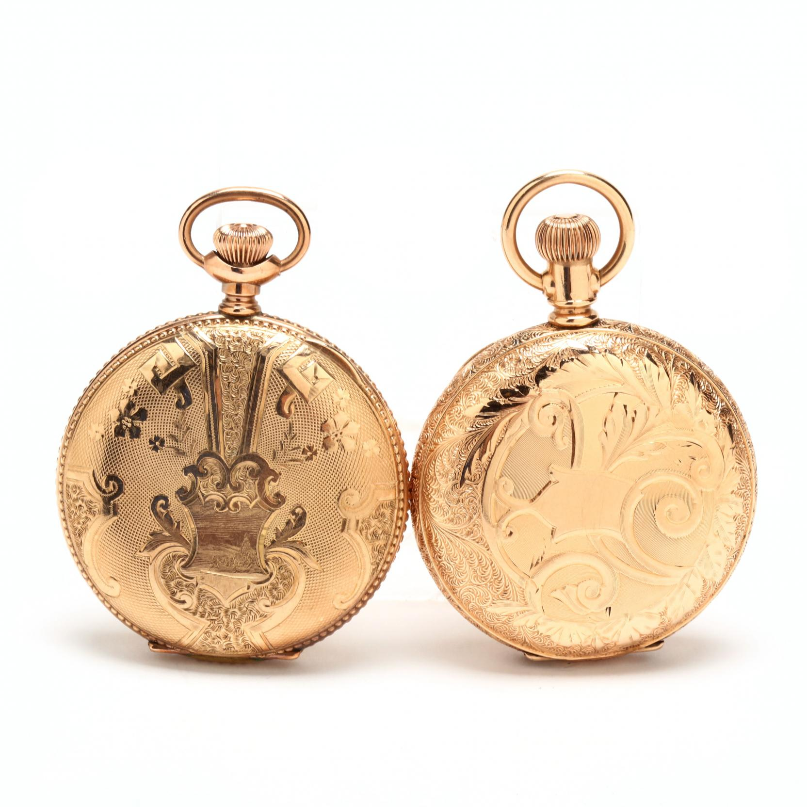 two-vintage-gold-filled-hunter-case-pocket-watches