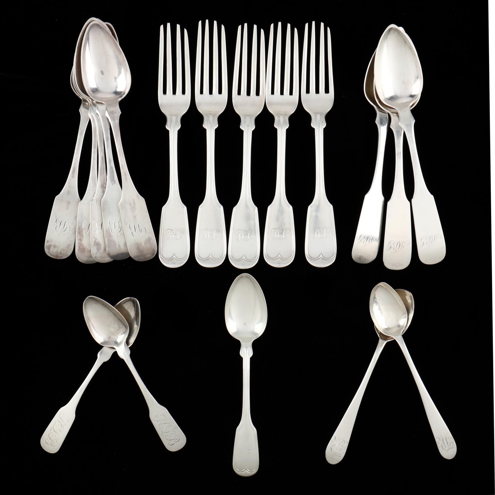 a-group-of-philadelphia-coin-silver-flatware