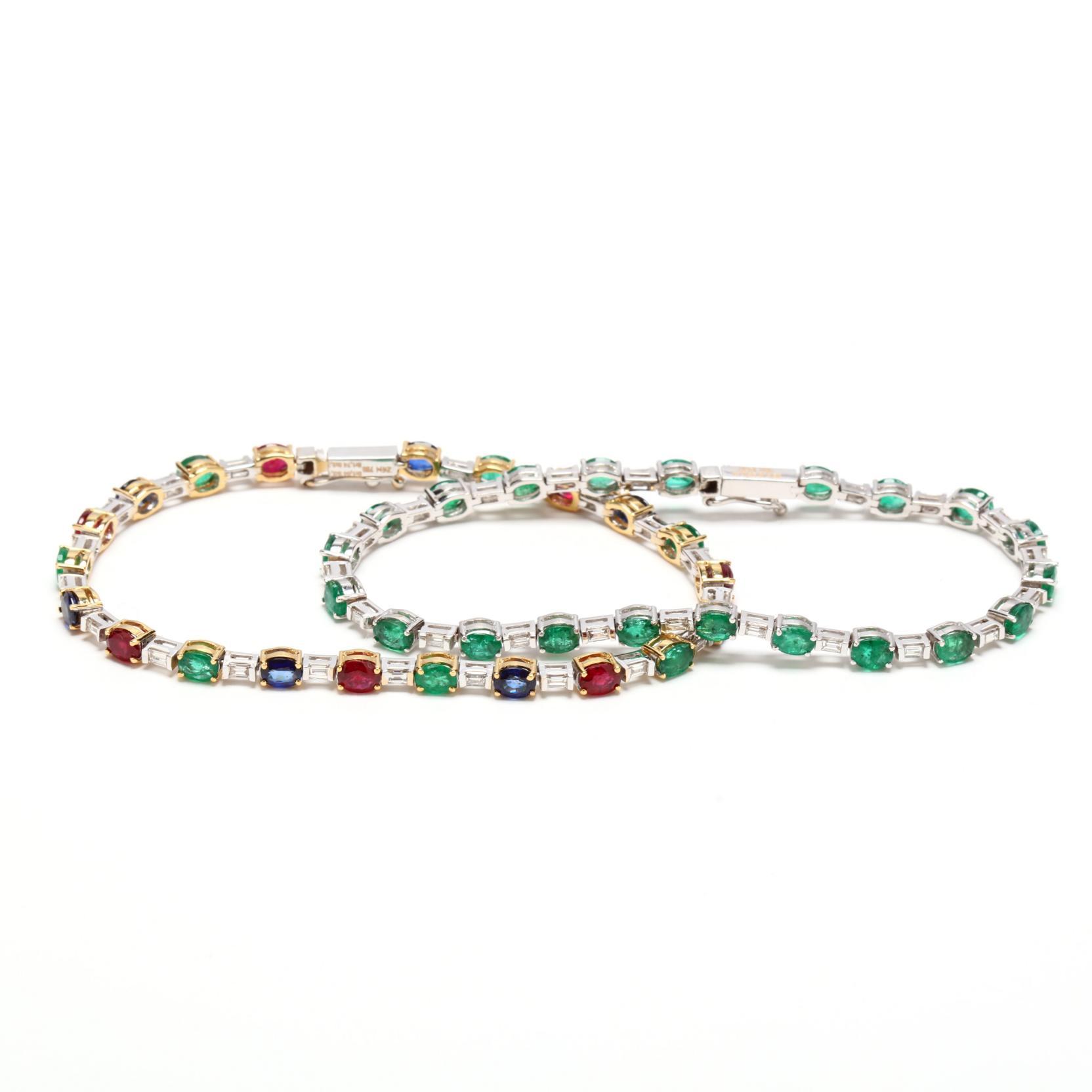 two-14kt-white-gold-gem-set-bracelets-zen