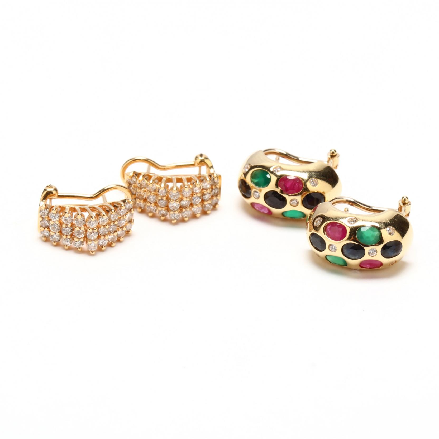 two-pairs-14kt-gem-set-earrings